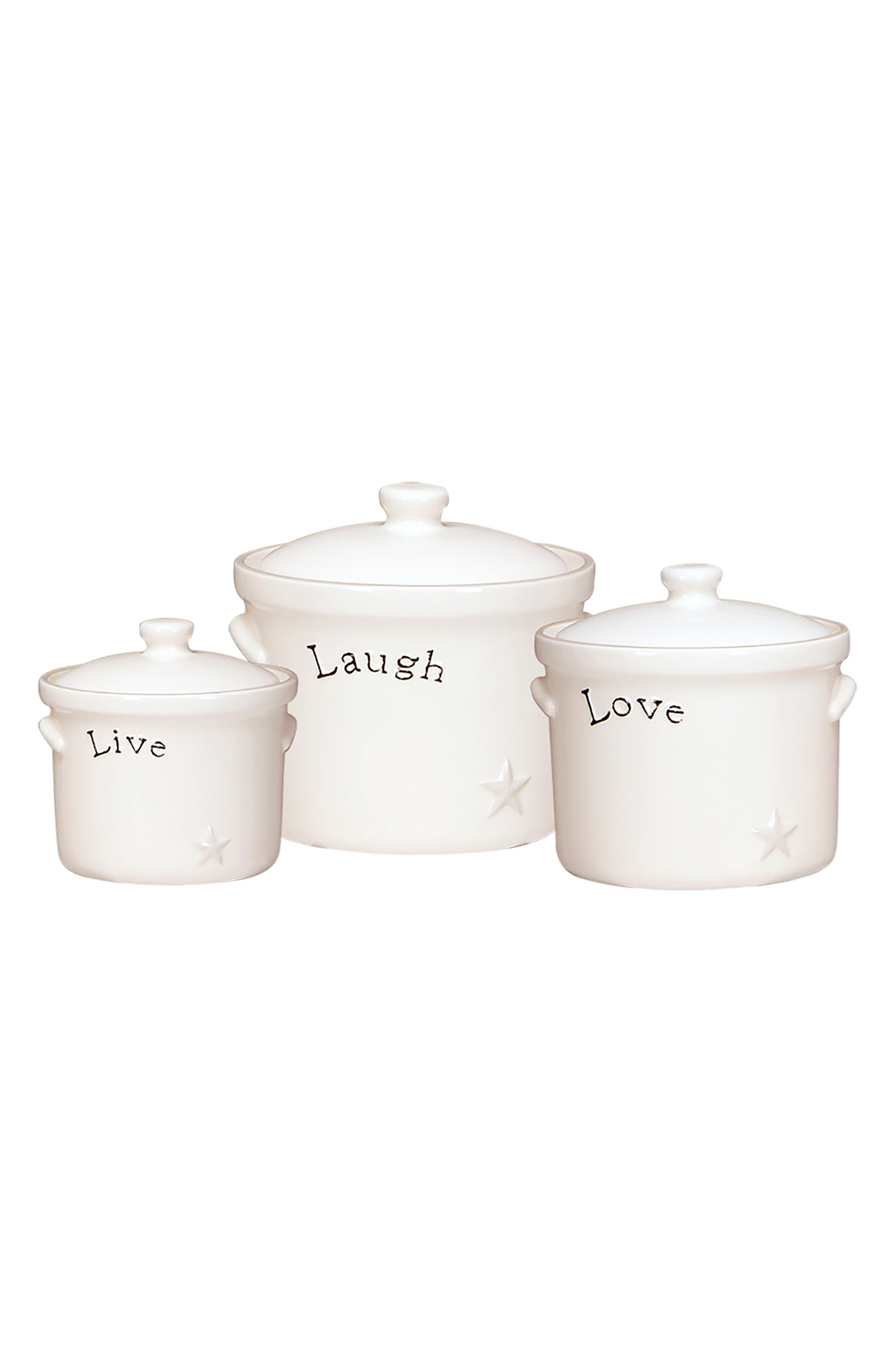 Set of 3 Live Laugh Love Canisters,                         Main,                         color, White