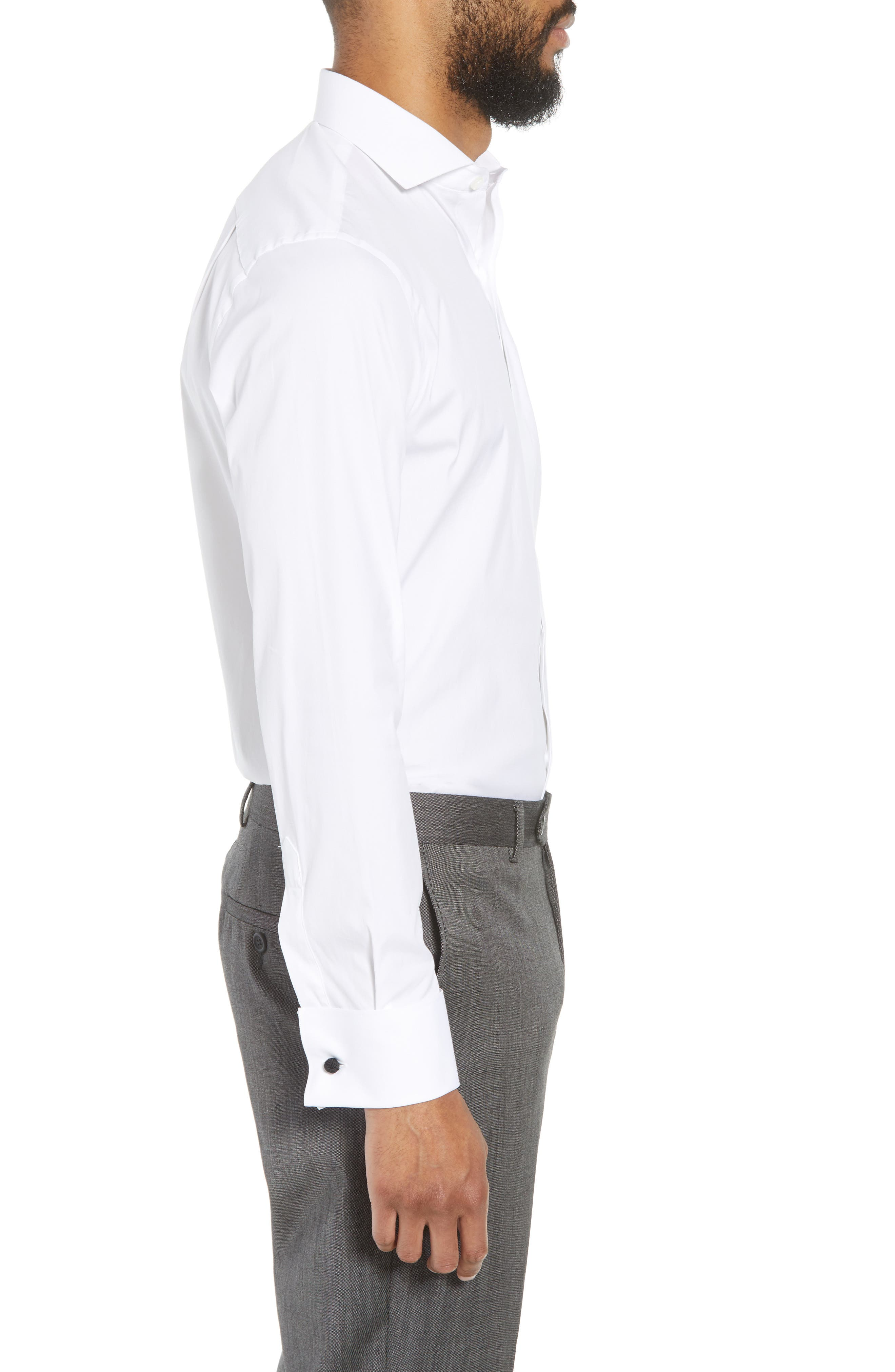 Capstone Stretch Slim Fit Tuxedo Shirt,                             Alternate thumbnail 4, color,                             White