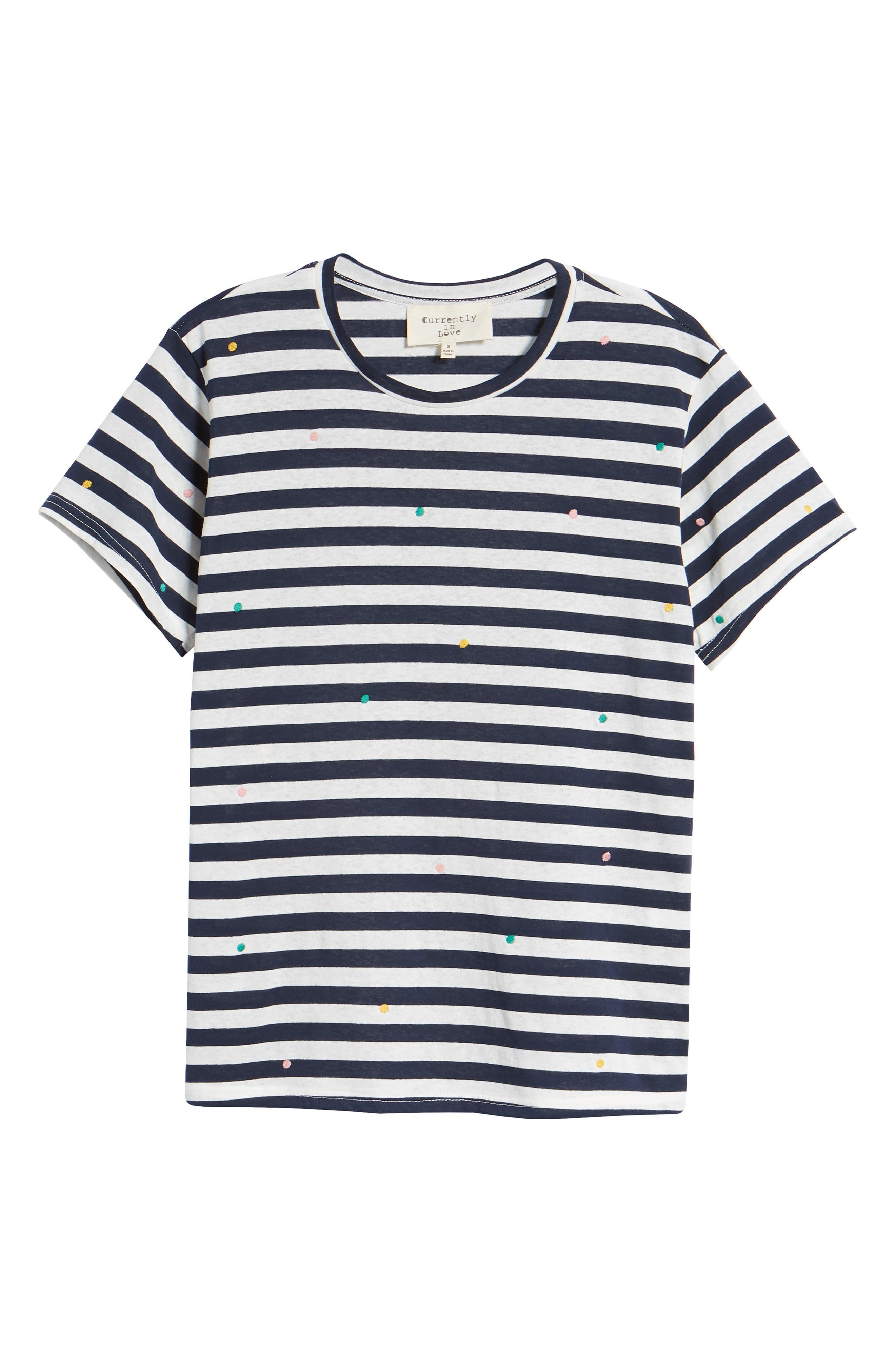 Polka Dot Embroidered Stripe Tee,                             Alternate thumbnail 7, color,                             Navy/ White