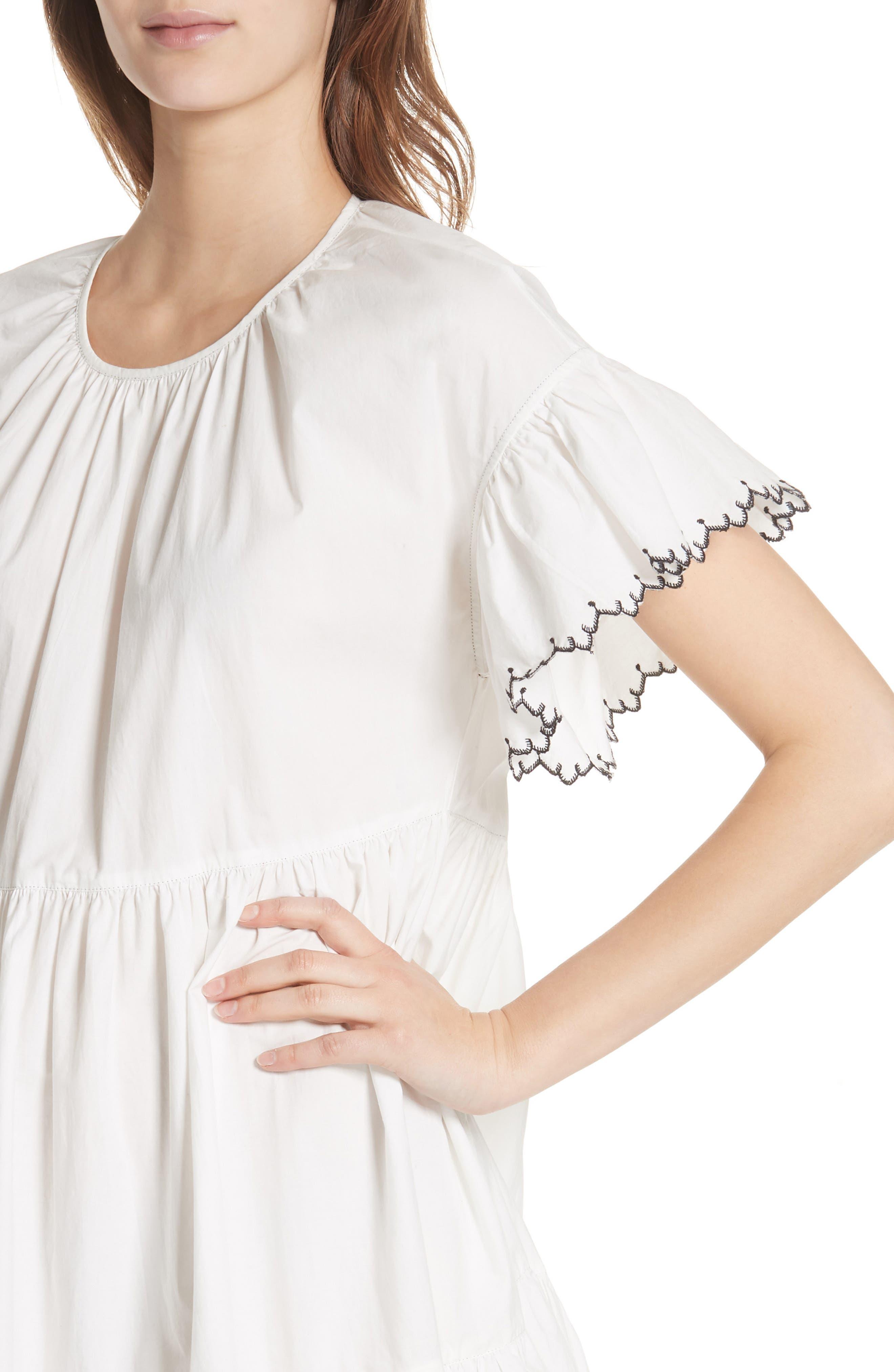 Rosemarie Cotton Poplin Dress,                             Alternate thumbnail 4, color,                             Blanc
