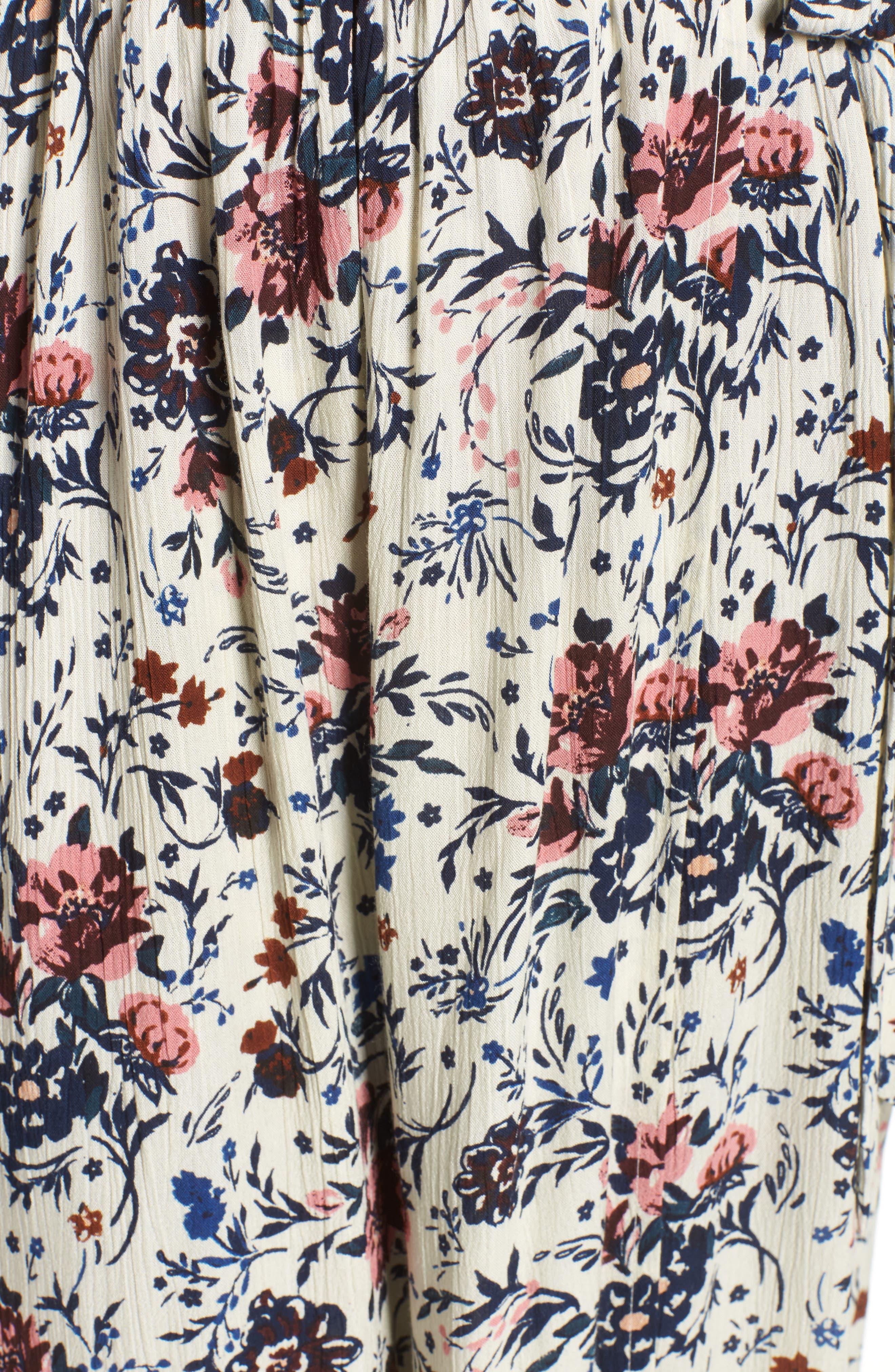 Floral Maxi Dress,                             Alternate thumbnail 3, color,                             Ivory Floral