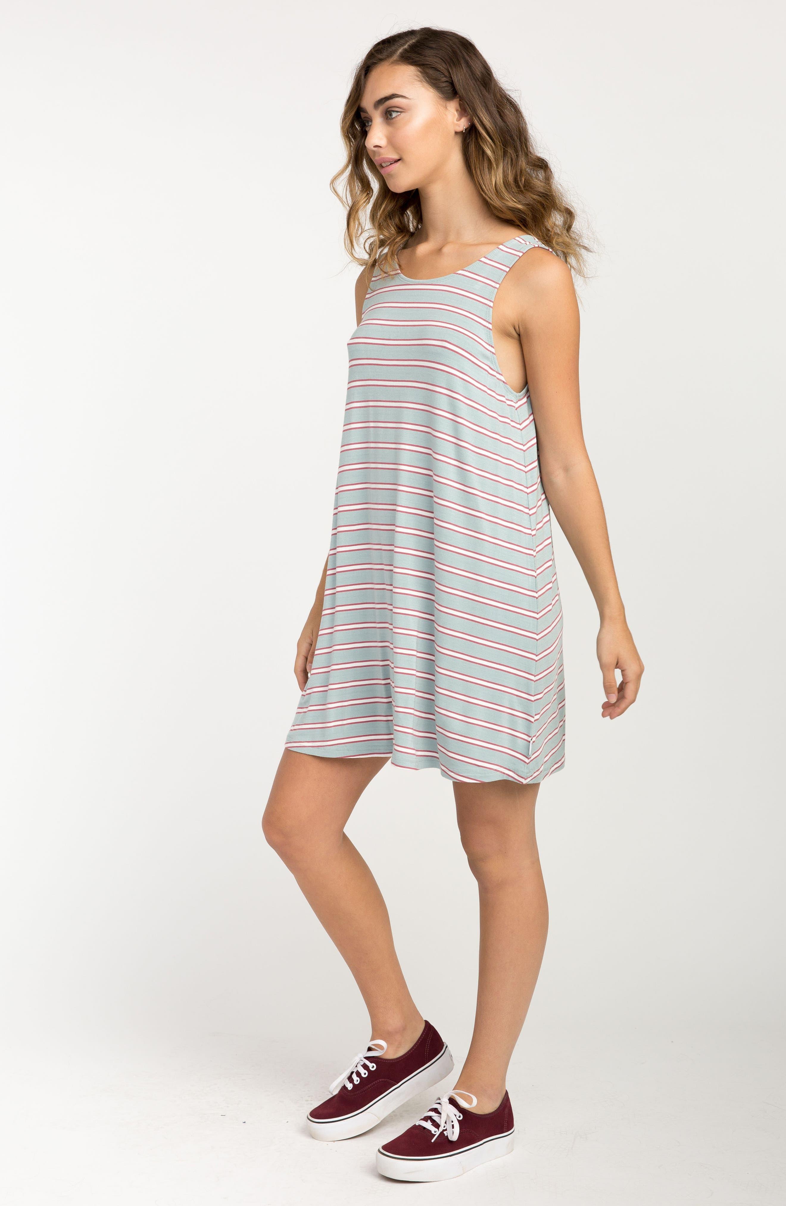Lostlane Stripe Swing Dress,                             Alternate thumbnail 4, color,                             Cloud Blue