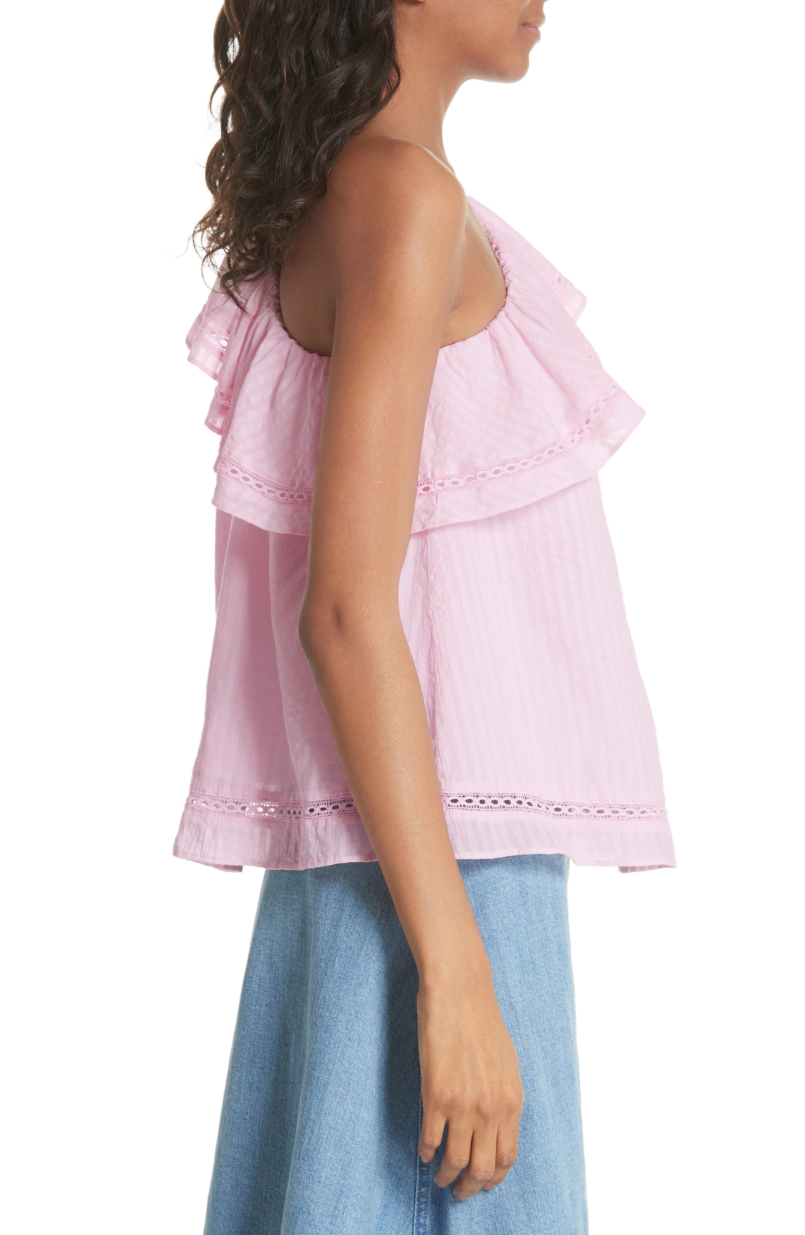 puckered cotton one-shoulder top,                             Alternate thumbnail 3, color,                             Pink Lemonade