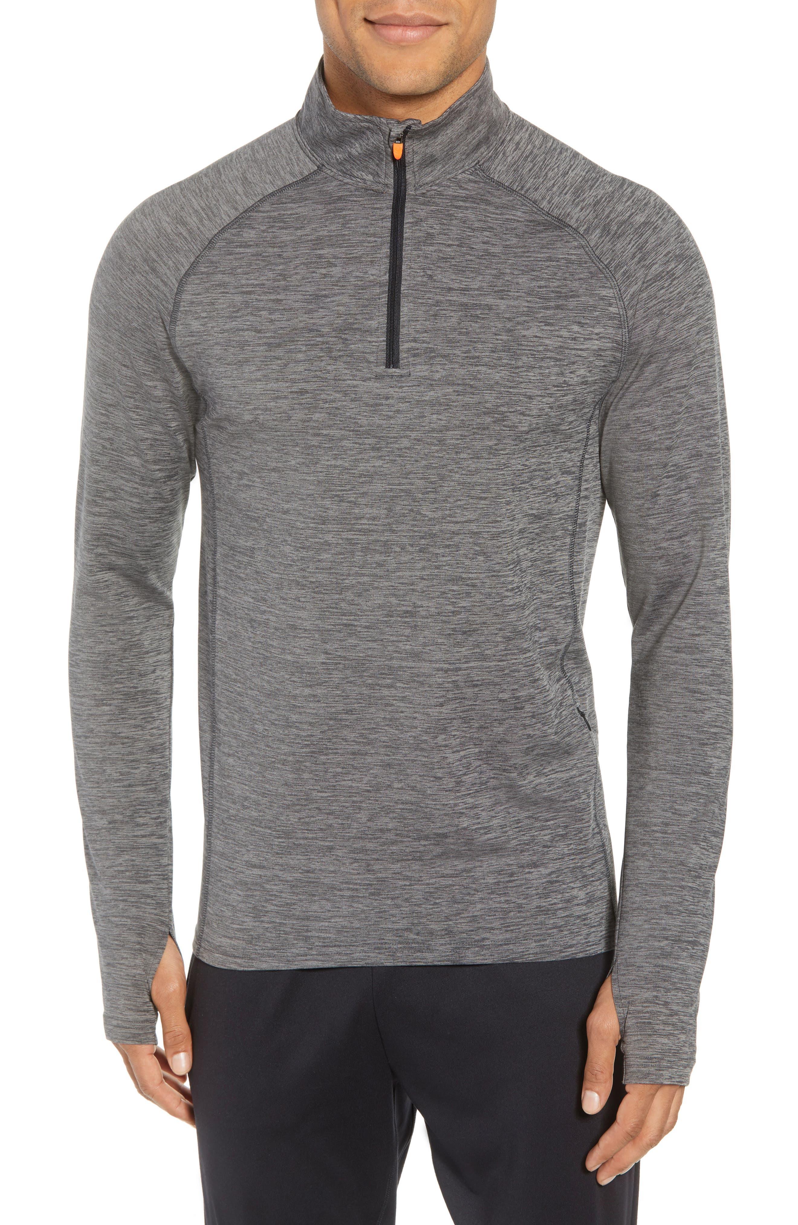 Core Half Zip Sweatshirt,                             Main thumbnail 1, color,                             Black Pepper Spacedye