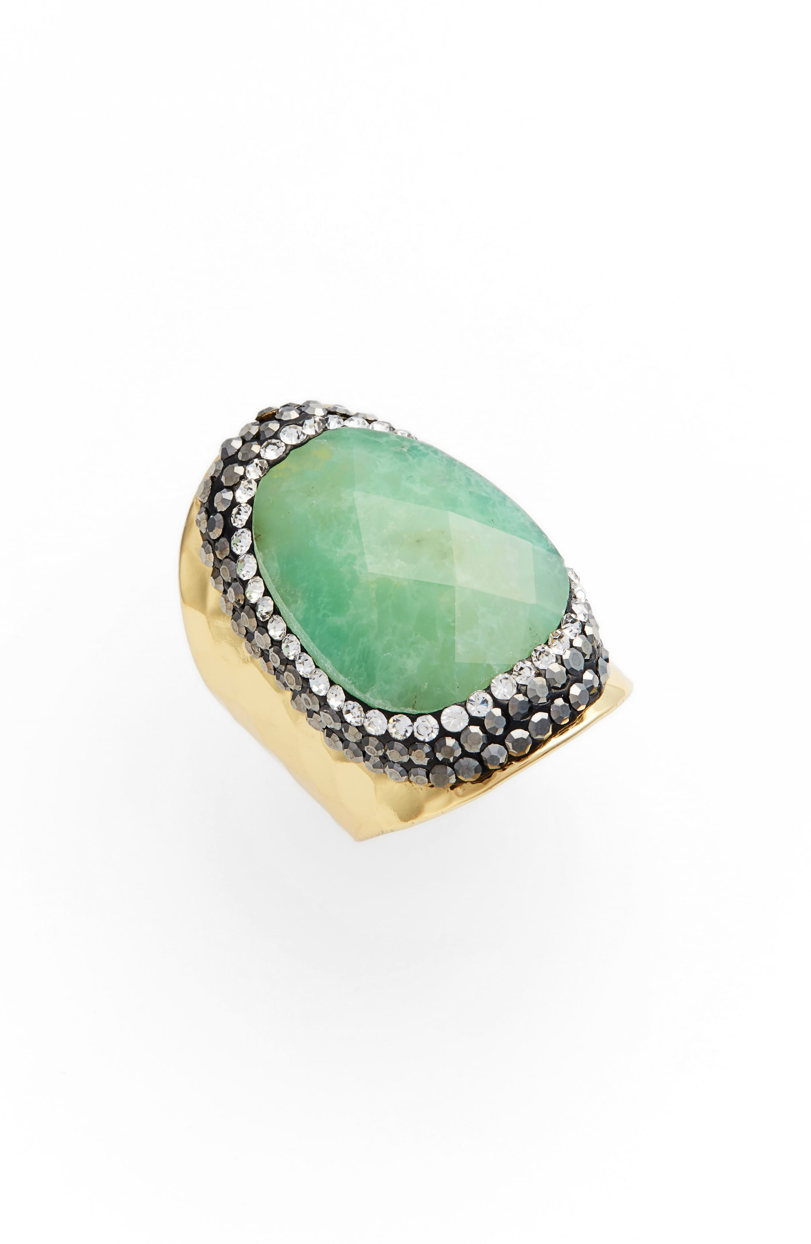Colita Amazonite & Crystal Ring,                         Main,                         color, Gold/ Amazonite
