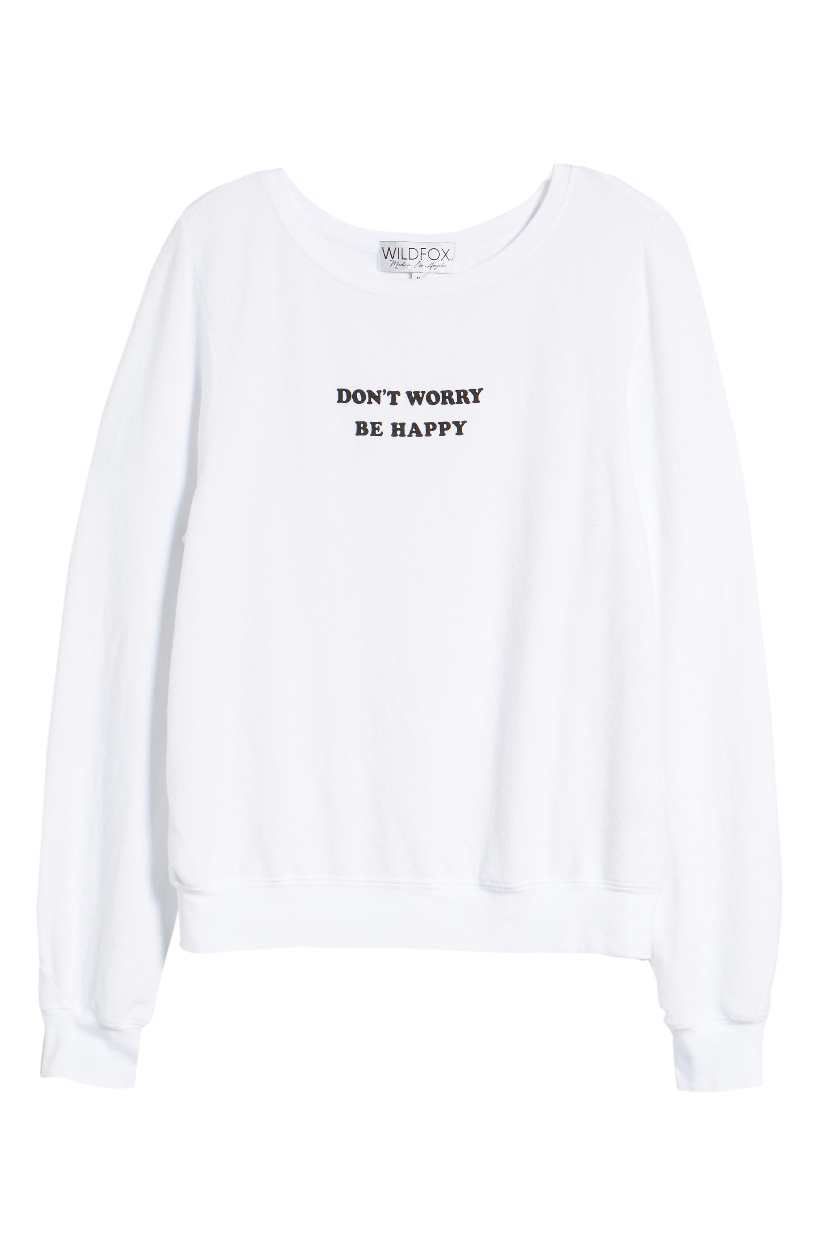 Be Happy Sweatshirt,                             Alternate thumbnail 6, color,                             Clean White