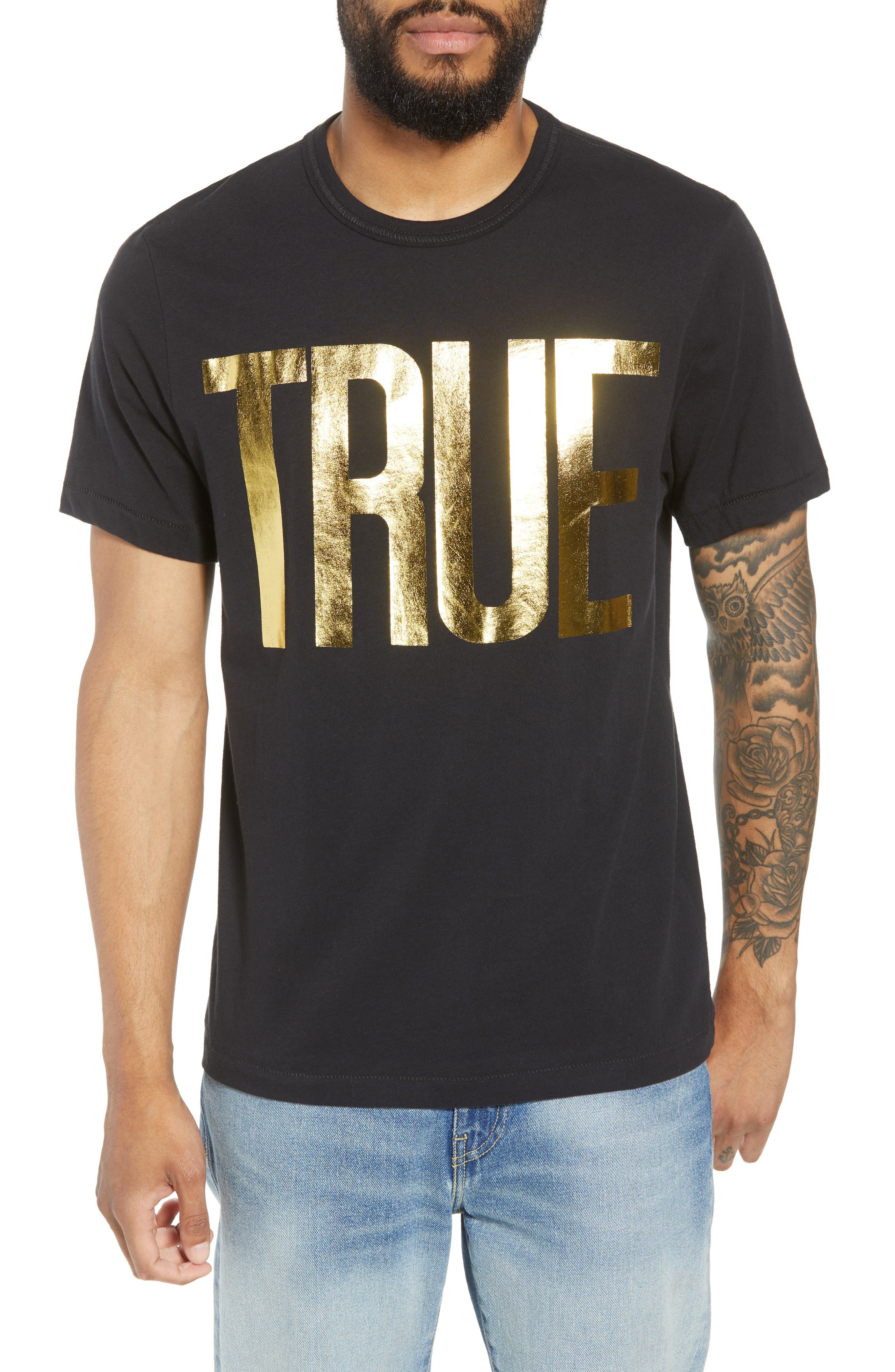 Gold Foil Logo T-Shirt,                             Main thumbnail 1, color,                             True Black