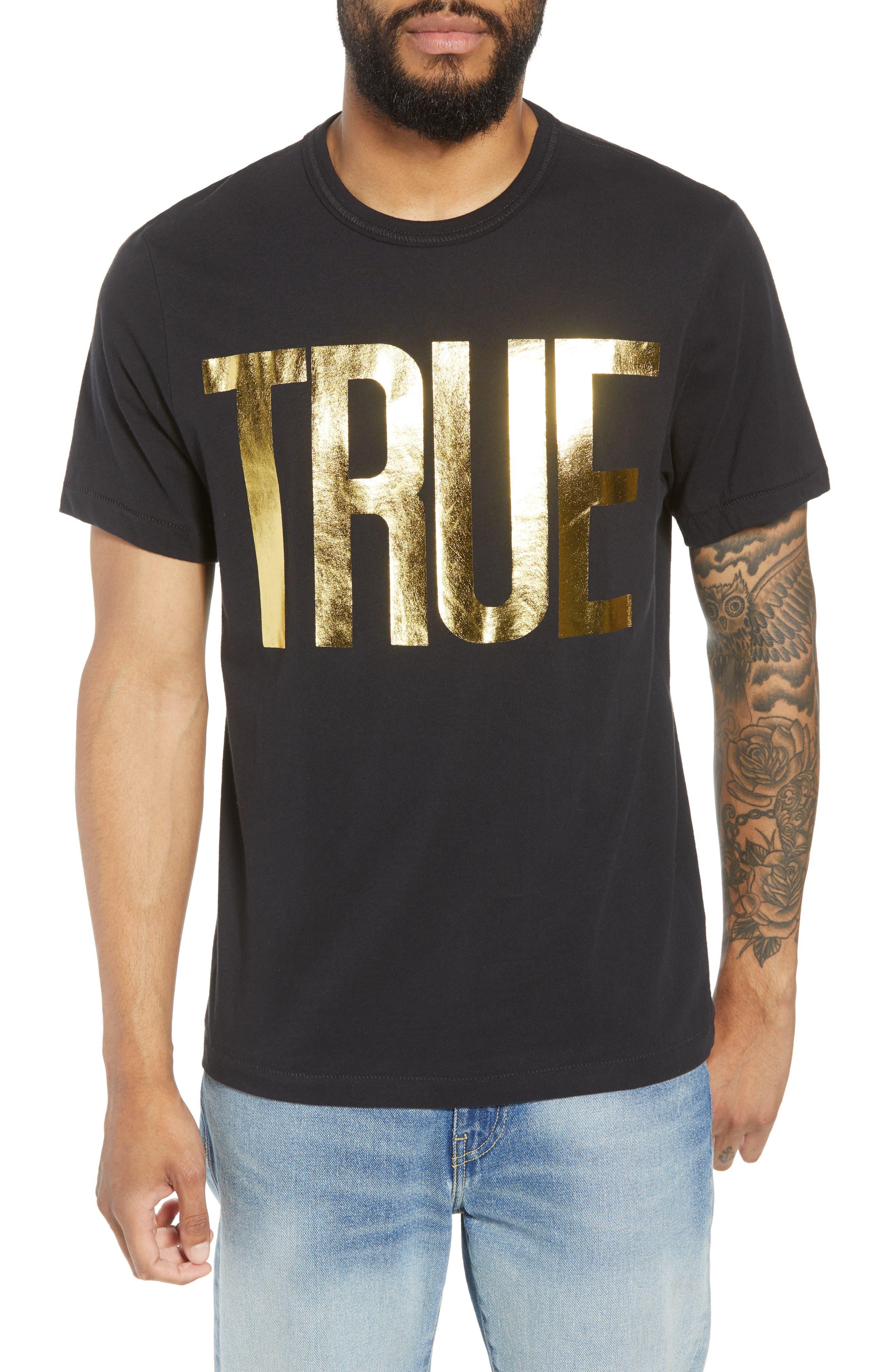 True Religion Brand Jeans Gold Foil Logo T-Shirt