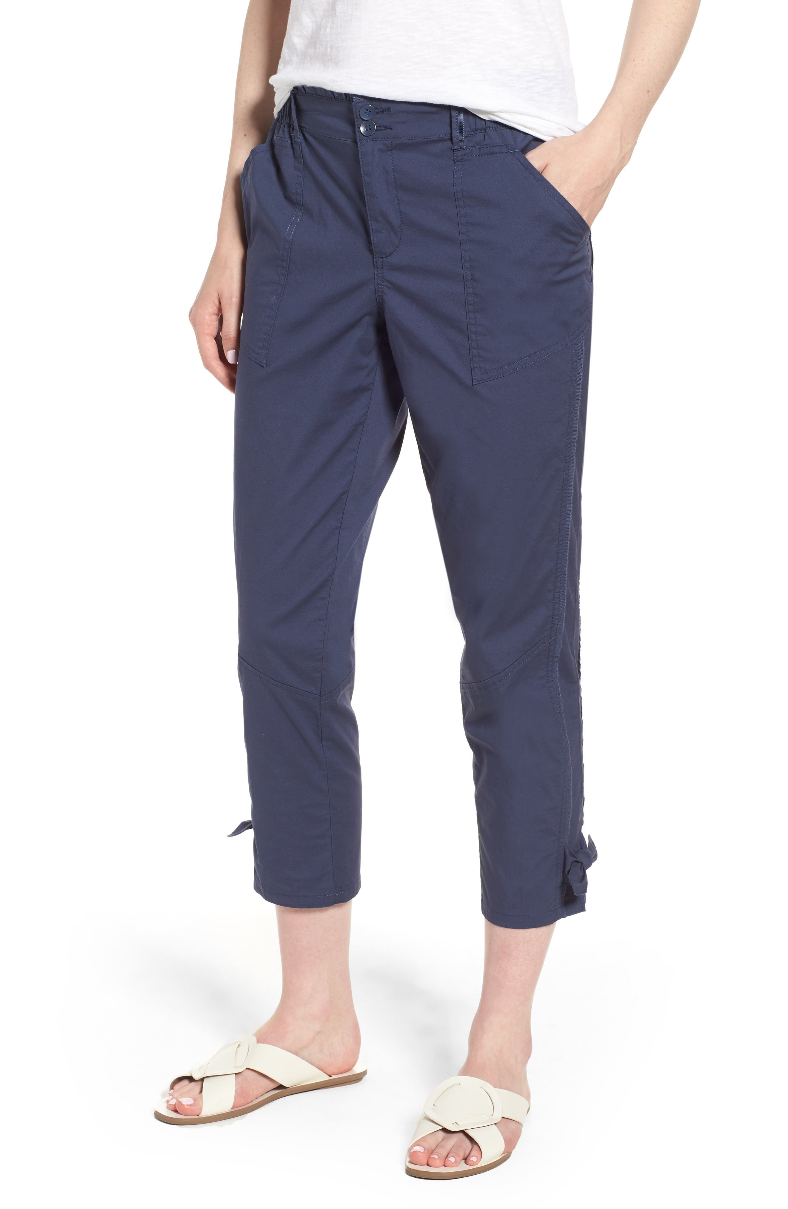 Tie Cuff Stretch Cotton Crop Pants,                             Main thumbnail 1, color,                             Ensign Blue