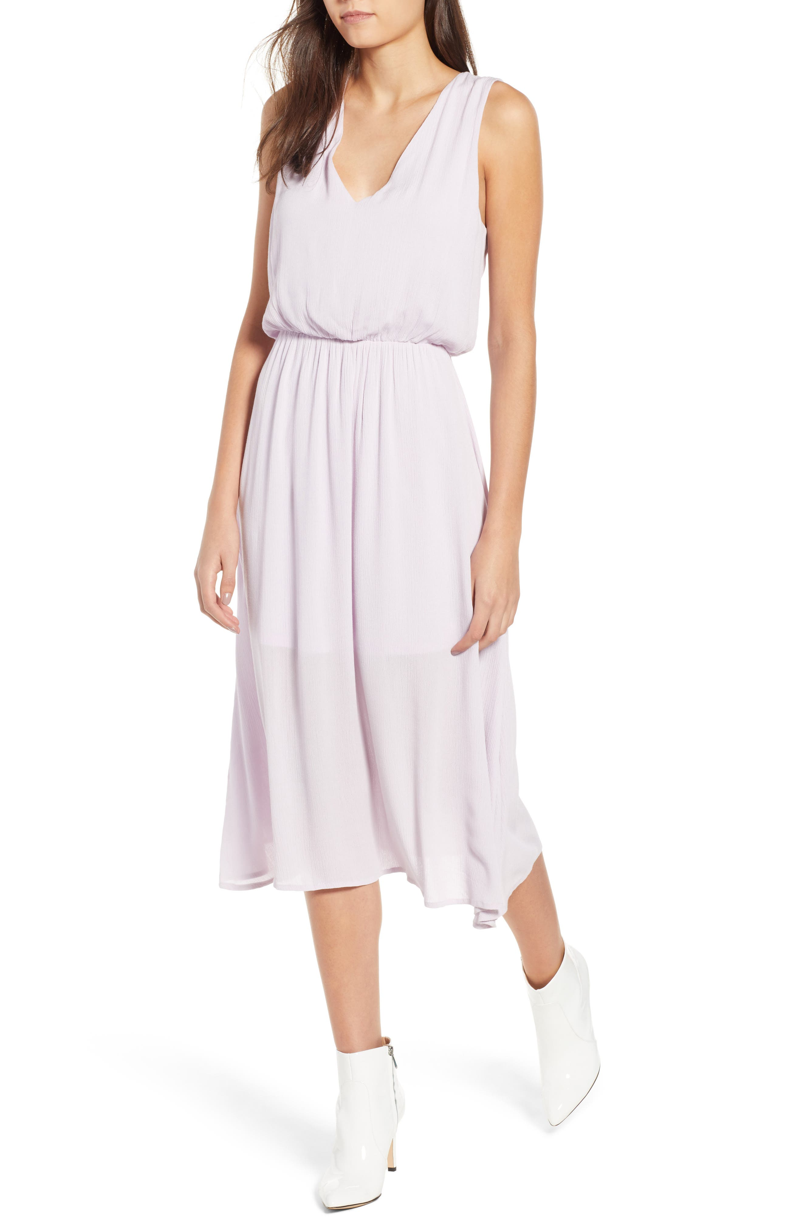 Sleeveless Blouson Midi Dress,                             Main thumbnail 1, color,                             Purple Moss