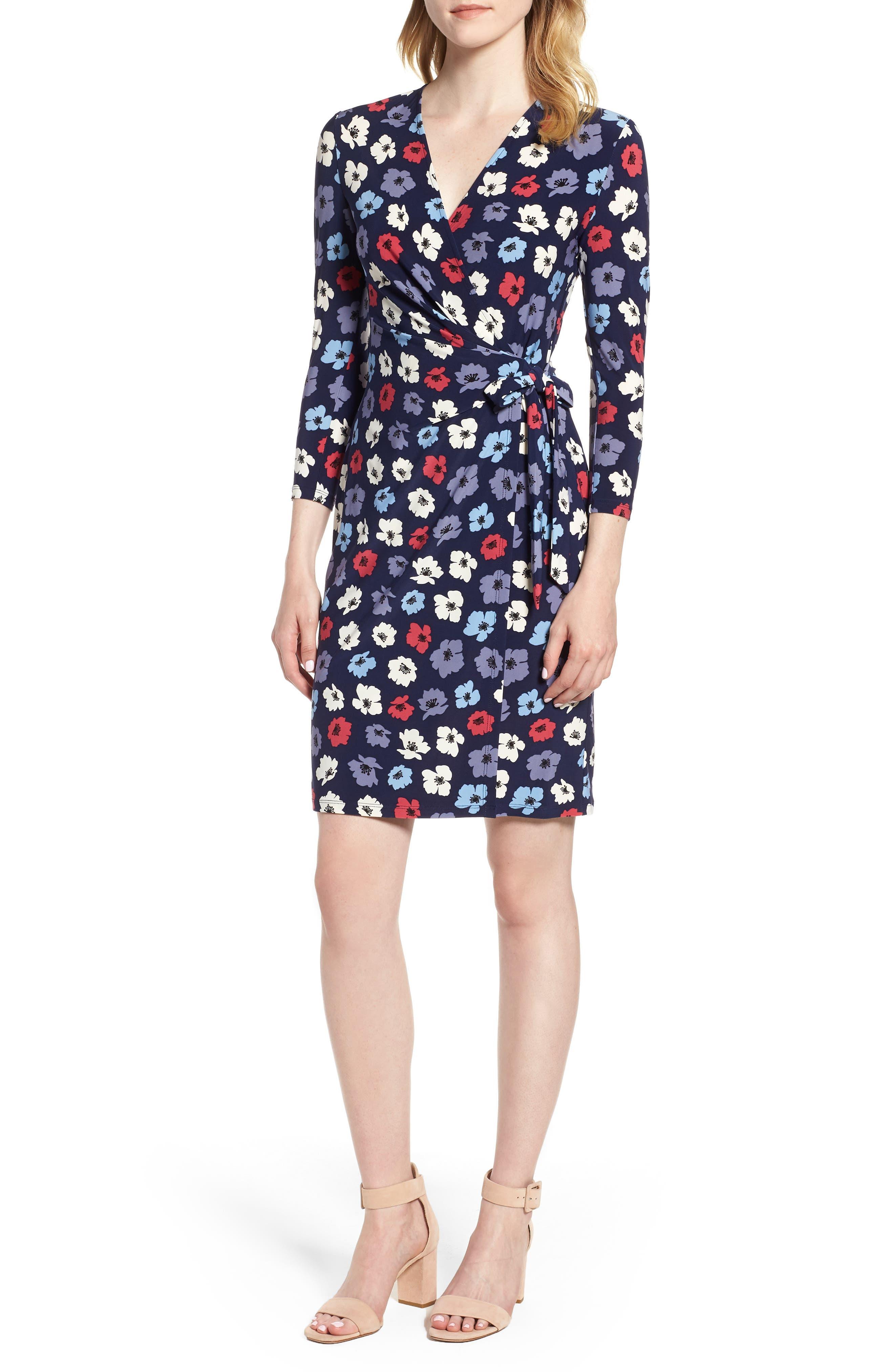 Floral Faux Wrap Dress,                         Main,                         color, Eclipse/ Breton Red Combo