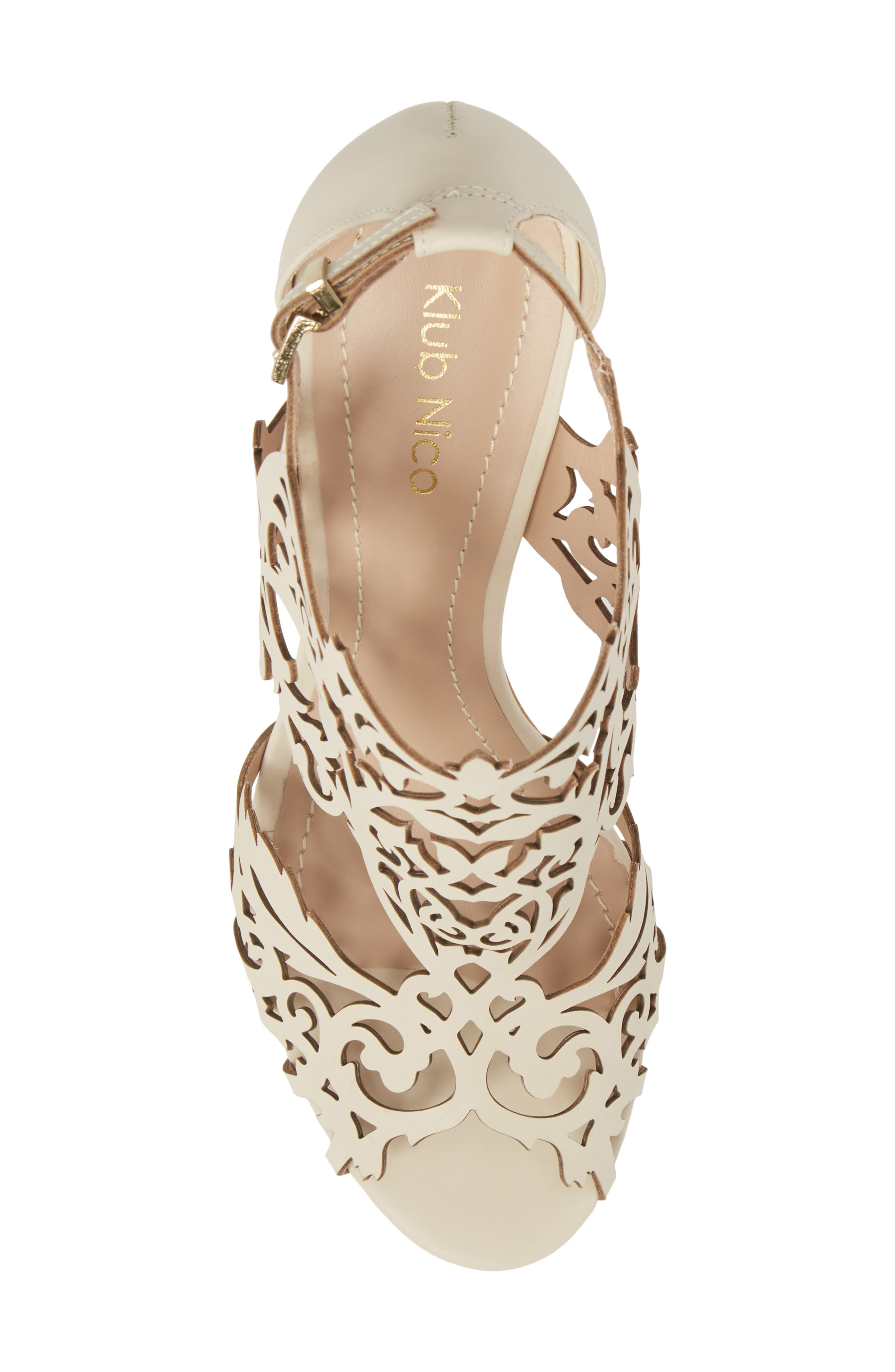 Marcela 3 Laser Cutout Sandal,                             Alternate thumbnail 5, color,                             Ivory Leather