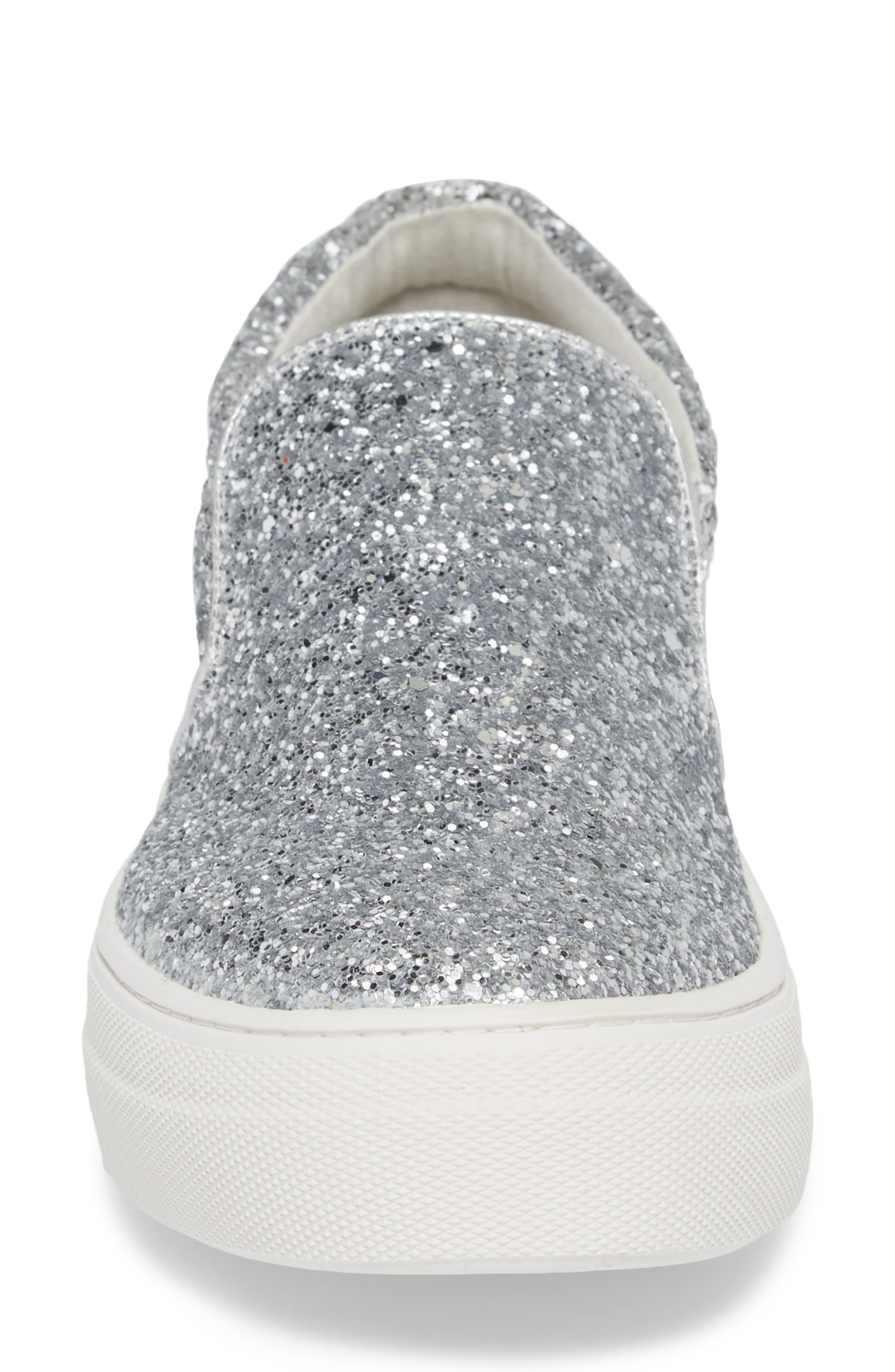 Gills Platform Slip-On Sneaker,                             Alternate thumbnail 4, color,                             Silver Glitter