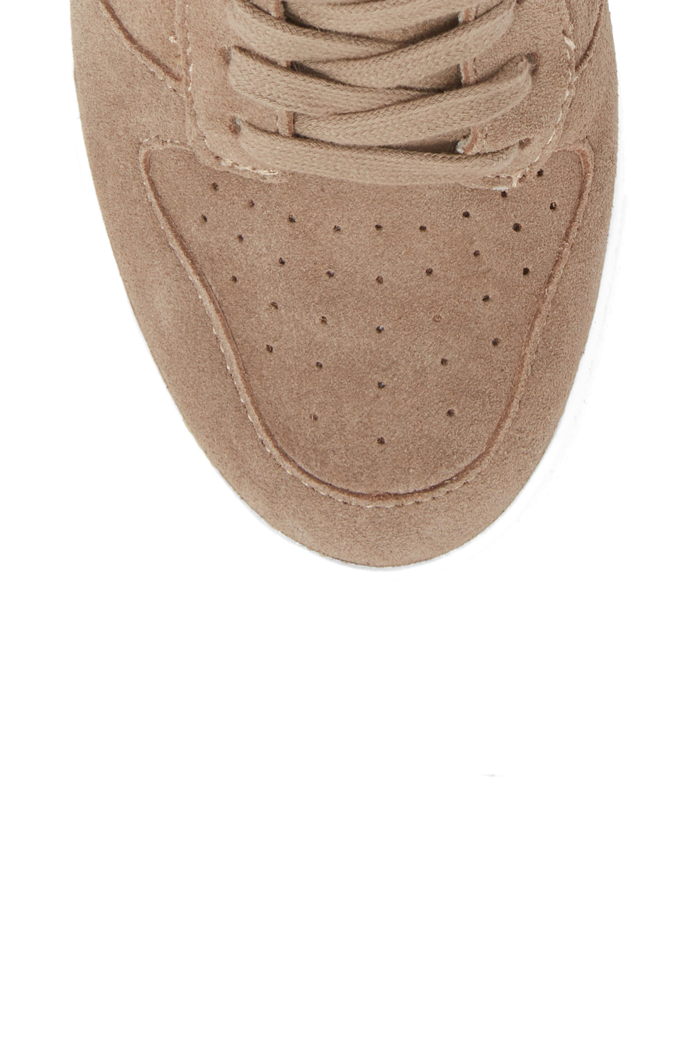 Noah Hidden Wedge Sneaker,                             Alternate thumbnail 5, color,                             Taupe Suede