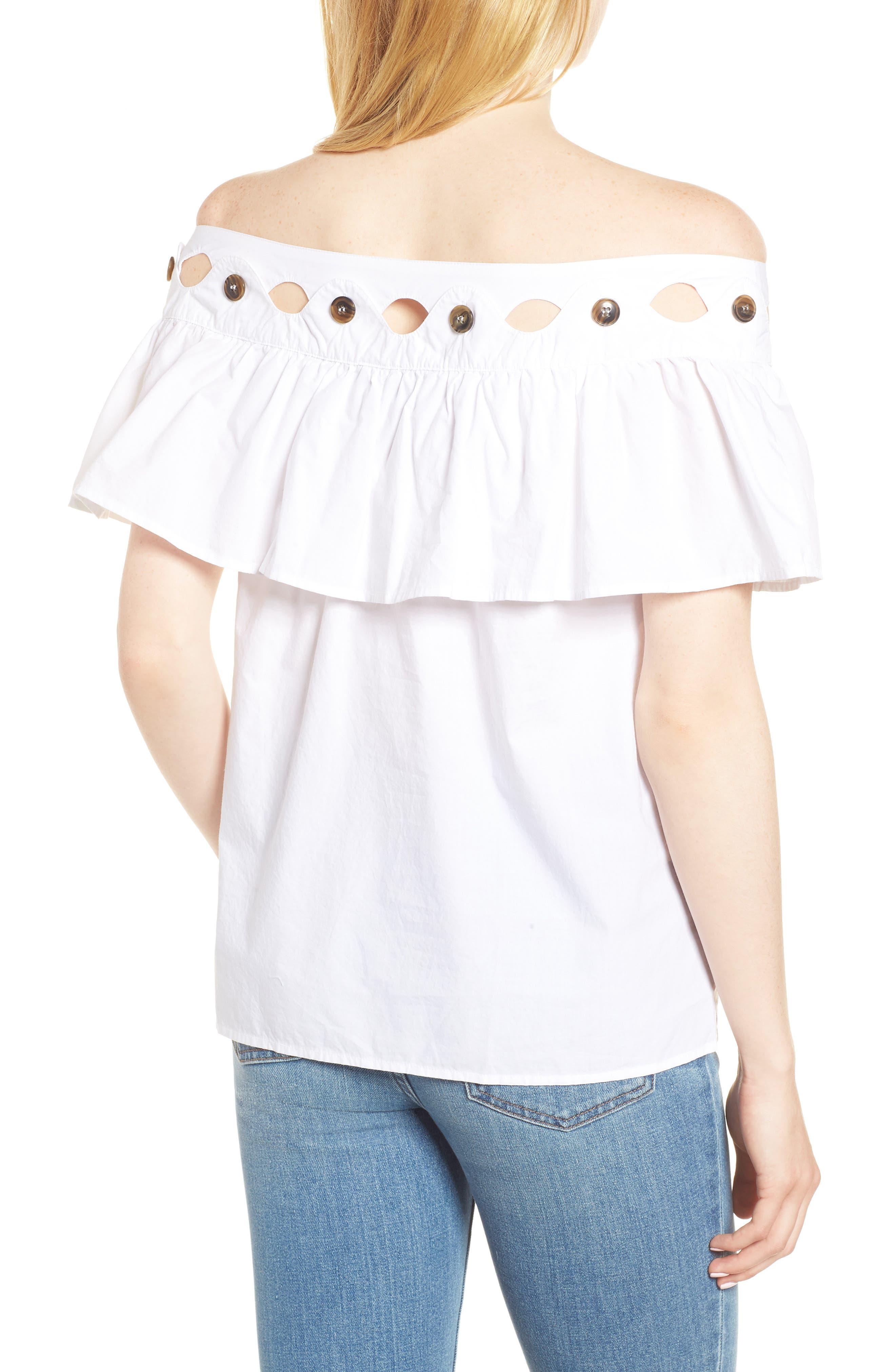 Hoax Off the Shoulder Cotton Poplin Top,                             Alternate thumbnail 2, color,                             White