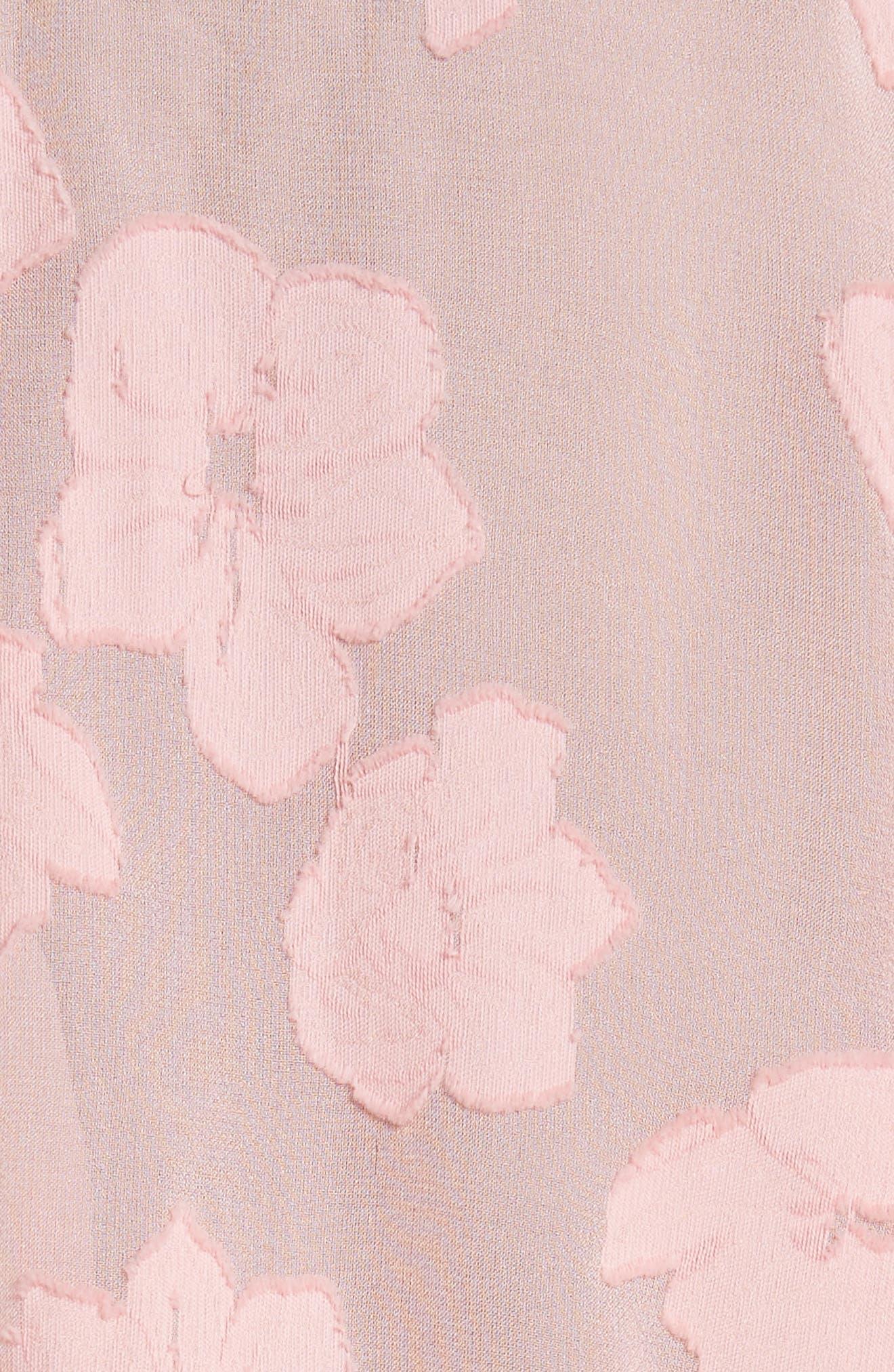 Sandrine Silk & Cotton Jacquard Blouse,                             Alternate thumbnail 5, color,                             Bubblegum