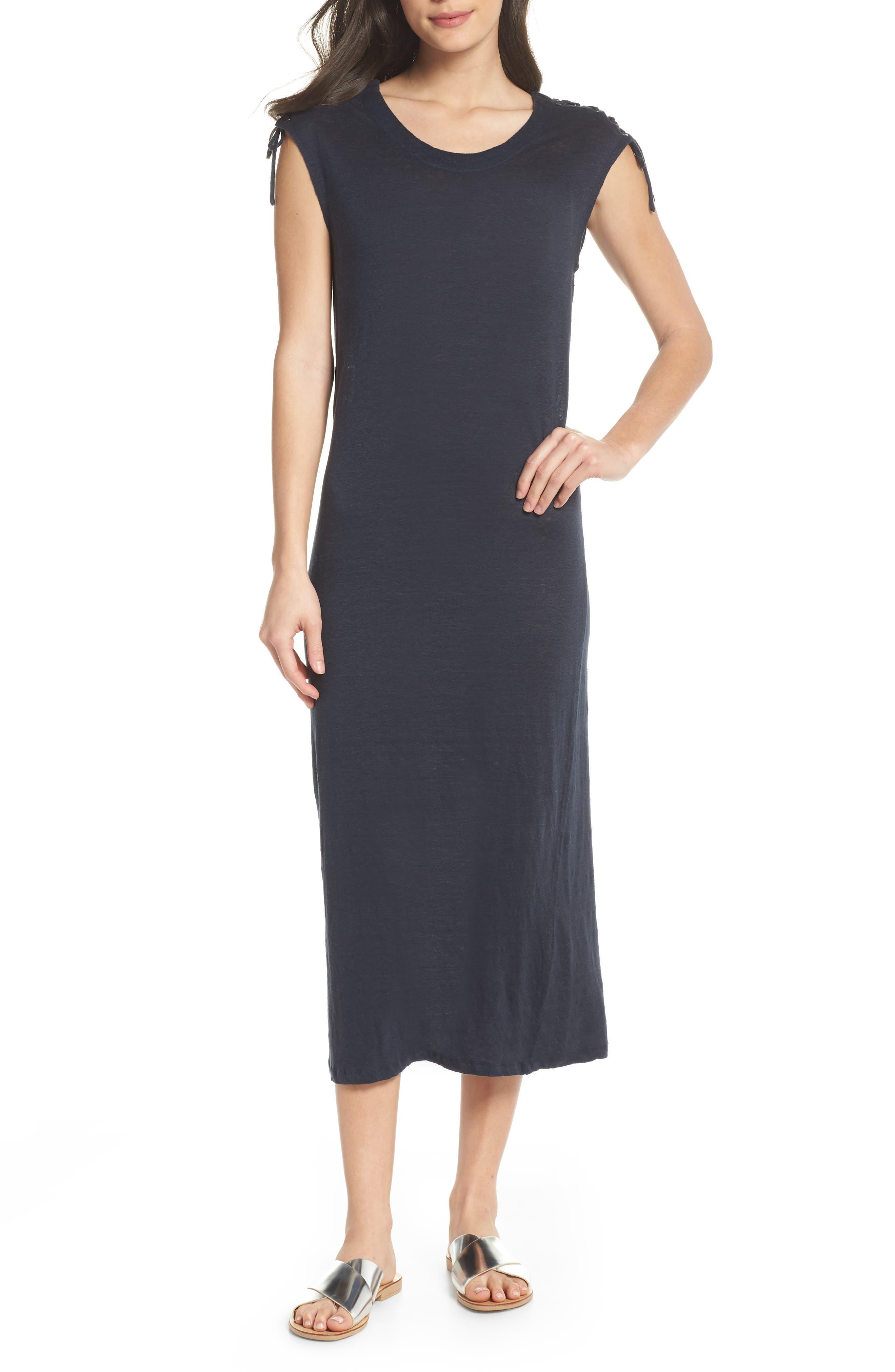Lace-up Shoulder Jersey Midi Dress,                         Main,                         color, Navy