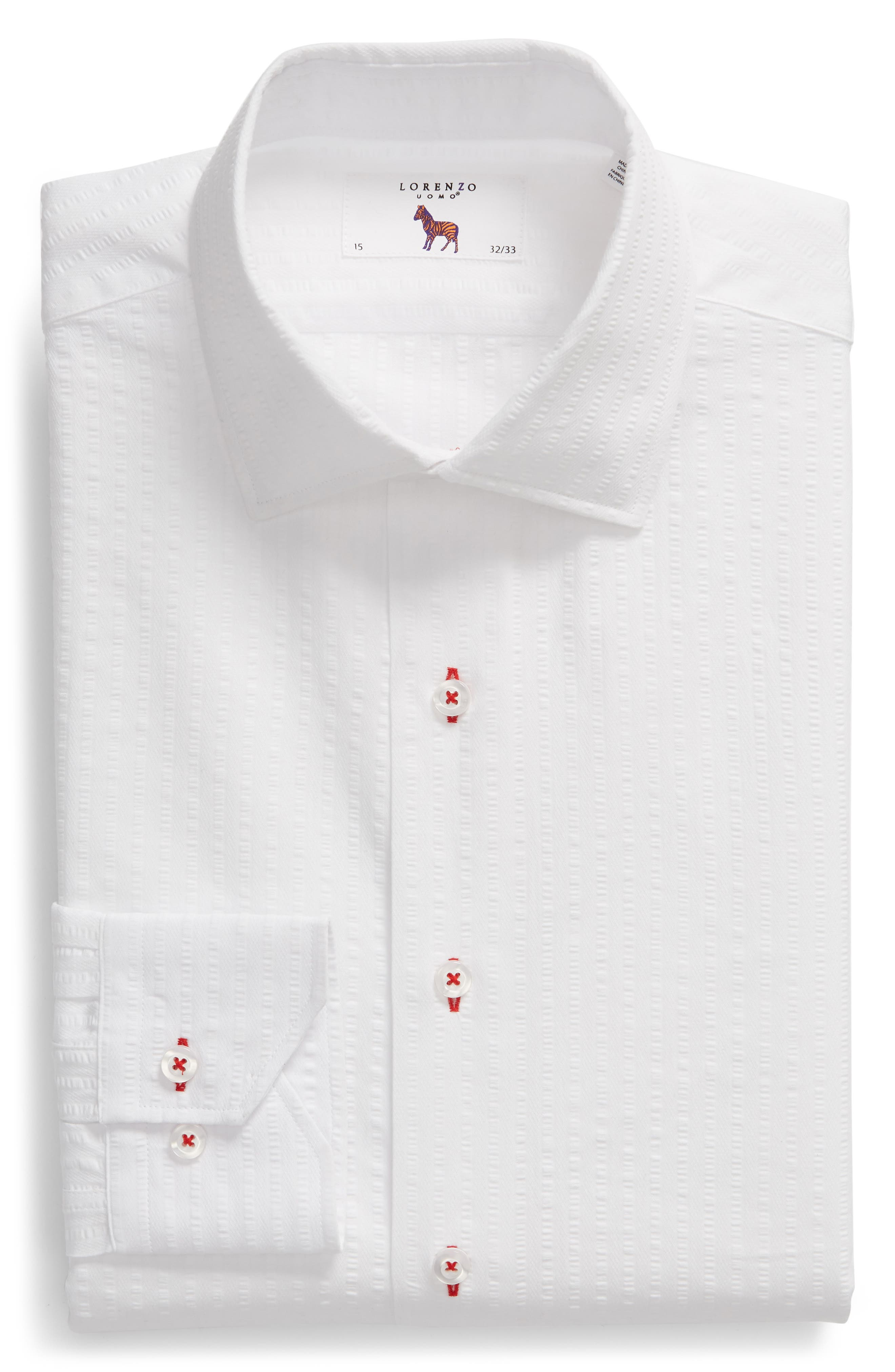 Trim Fit Seersucker Dress Shirt,                             Alternate thumbnail 6, color,                             White
