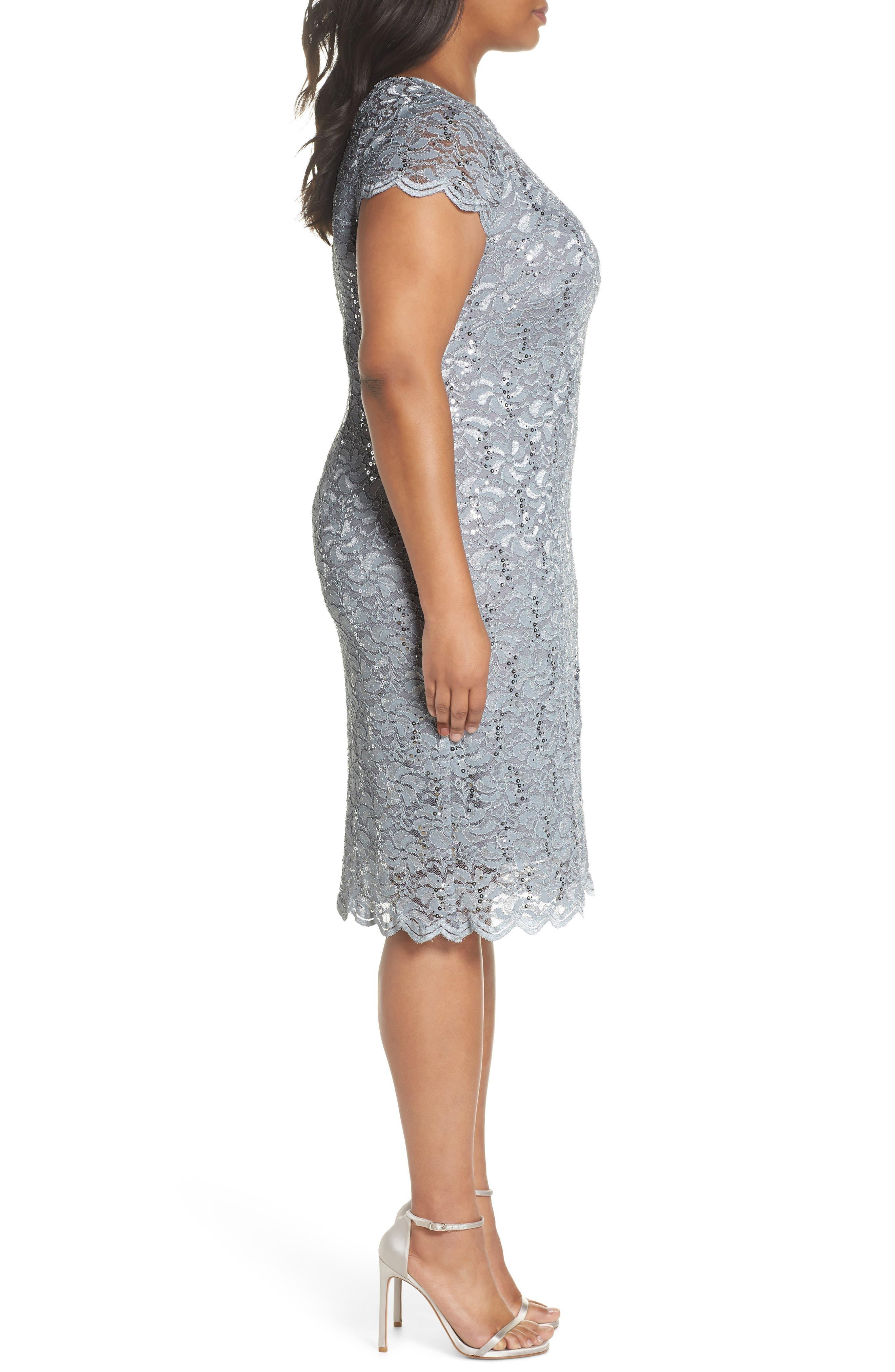 Sequin Lace Sheath Dress,                             Alternate thumbnail 3, color,                             Platinum
