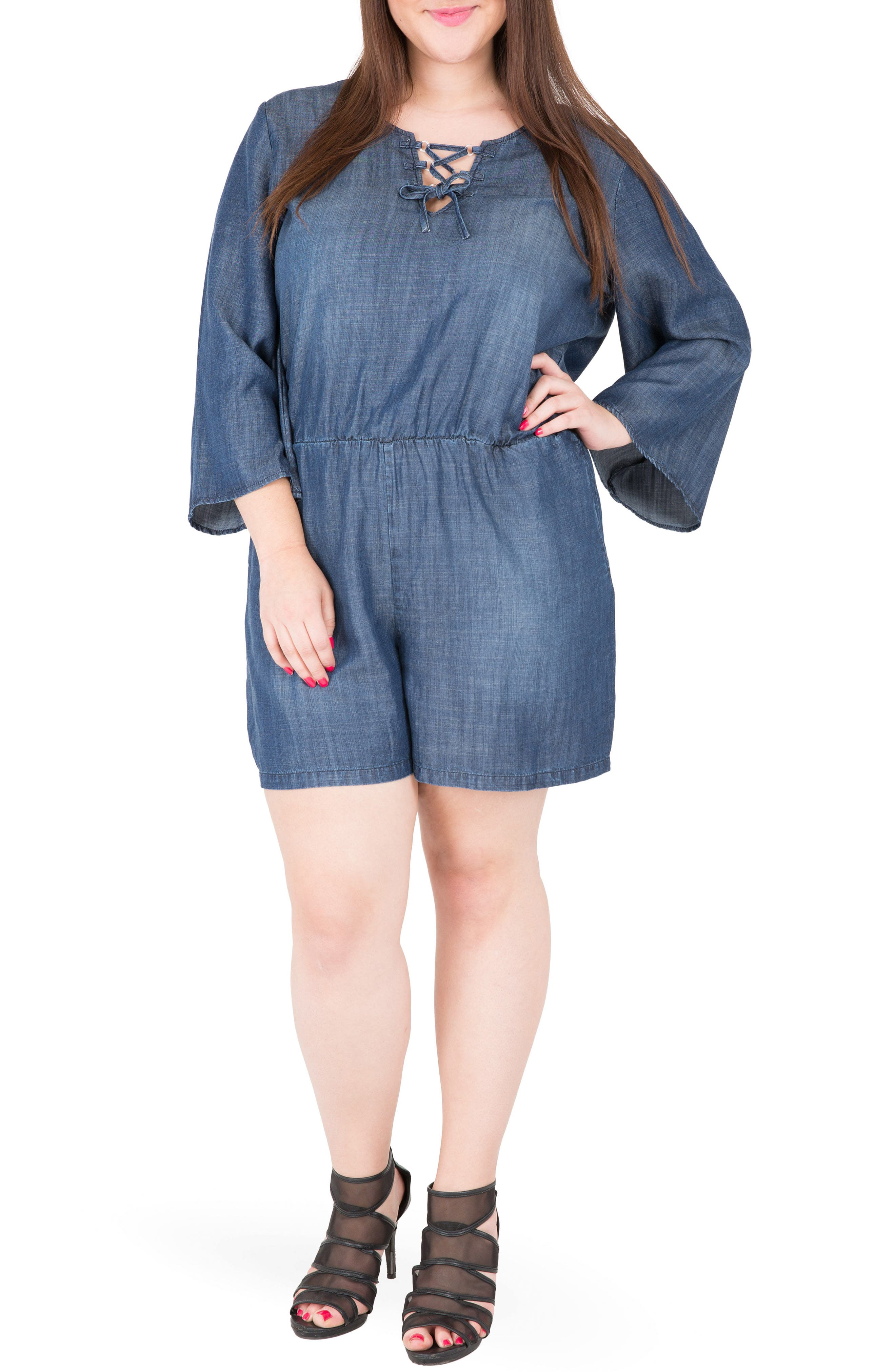 Bell Sleeve Romper,                         Main,                         color, Navy