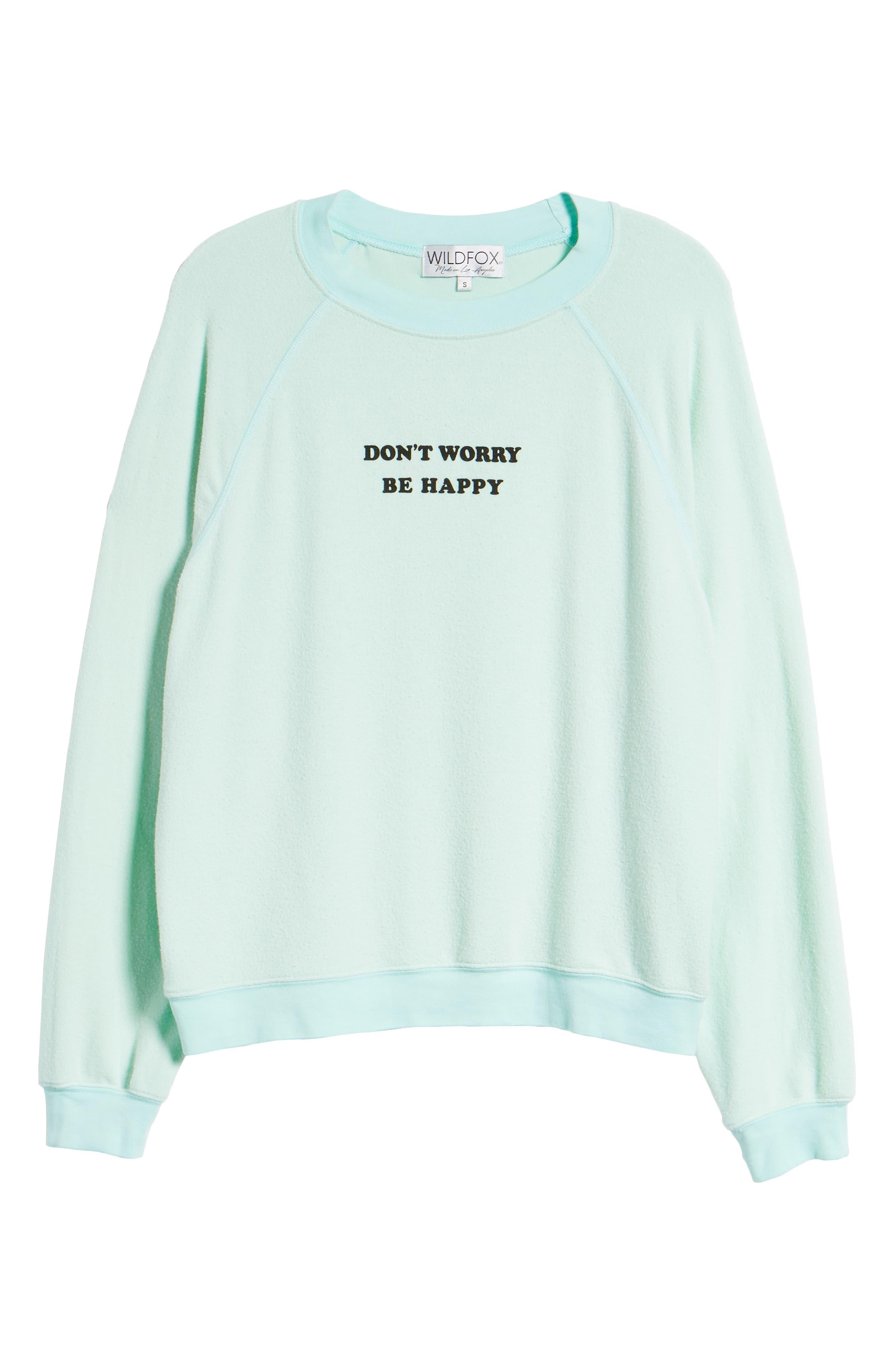 Be Happy Sweatshirt,                             Alternate thumbnail 6, color,                             Aqua Diver