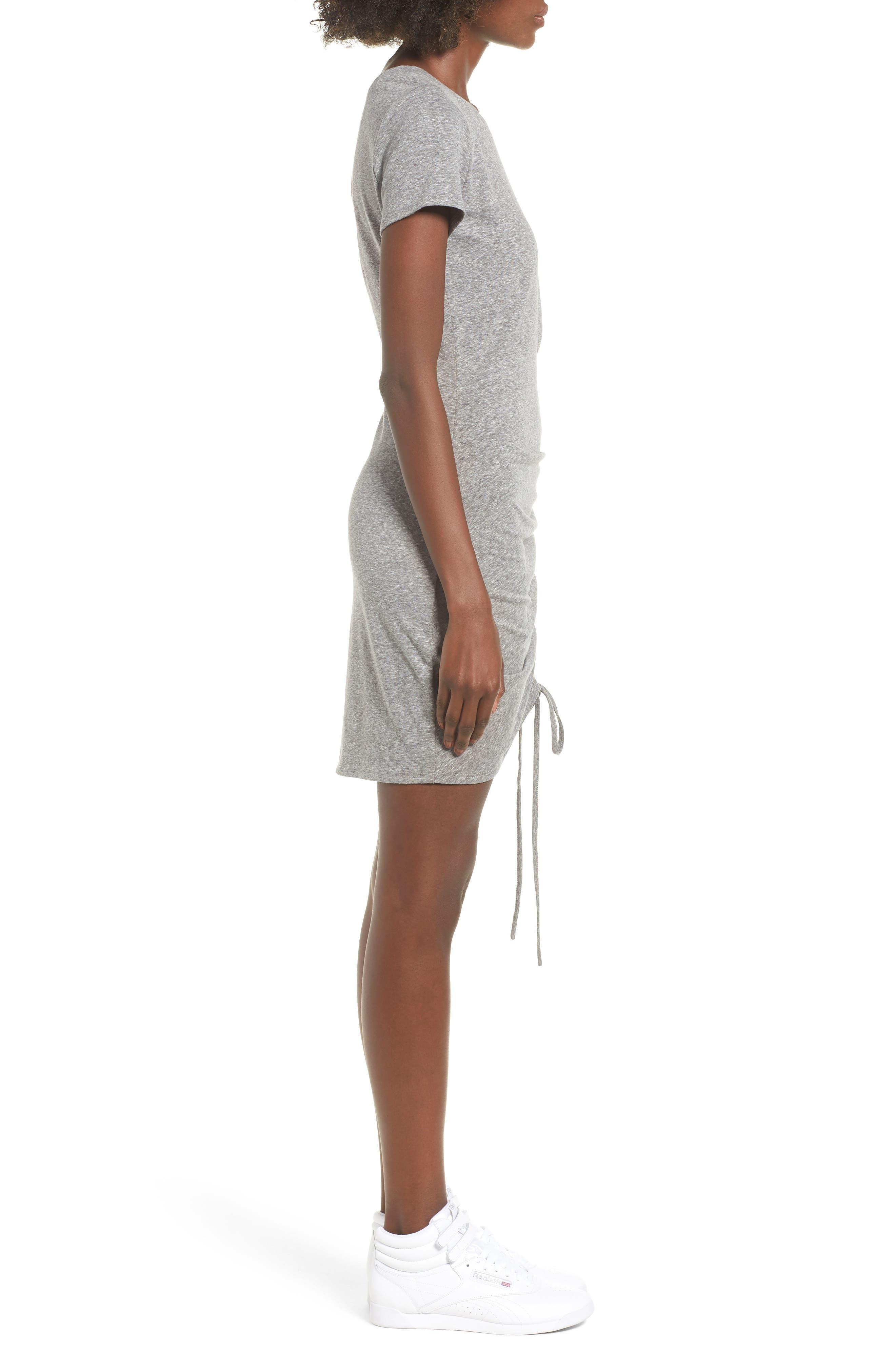 Cinch Side T-Shirt Dress,                             Alternate thumbnail 3, color,                             Heather Grey