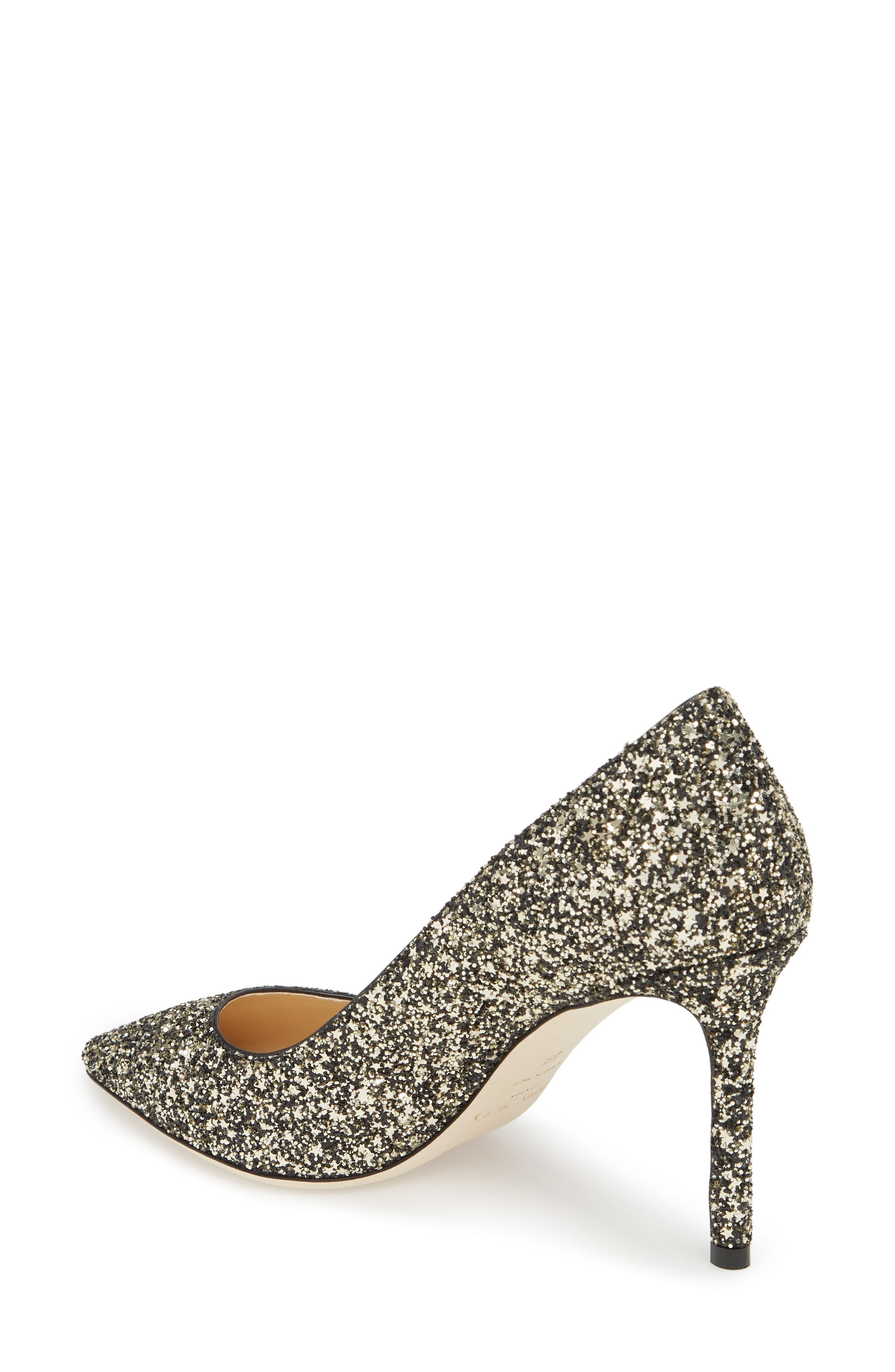 Romy Glitter Pointy Toe Pump,                             Alternate thumbnail 2, color,                             Gold Mix