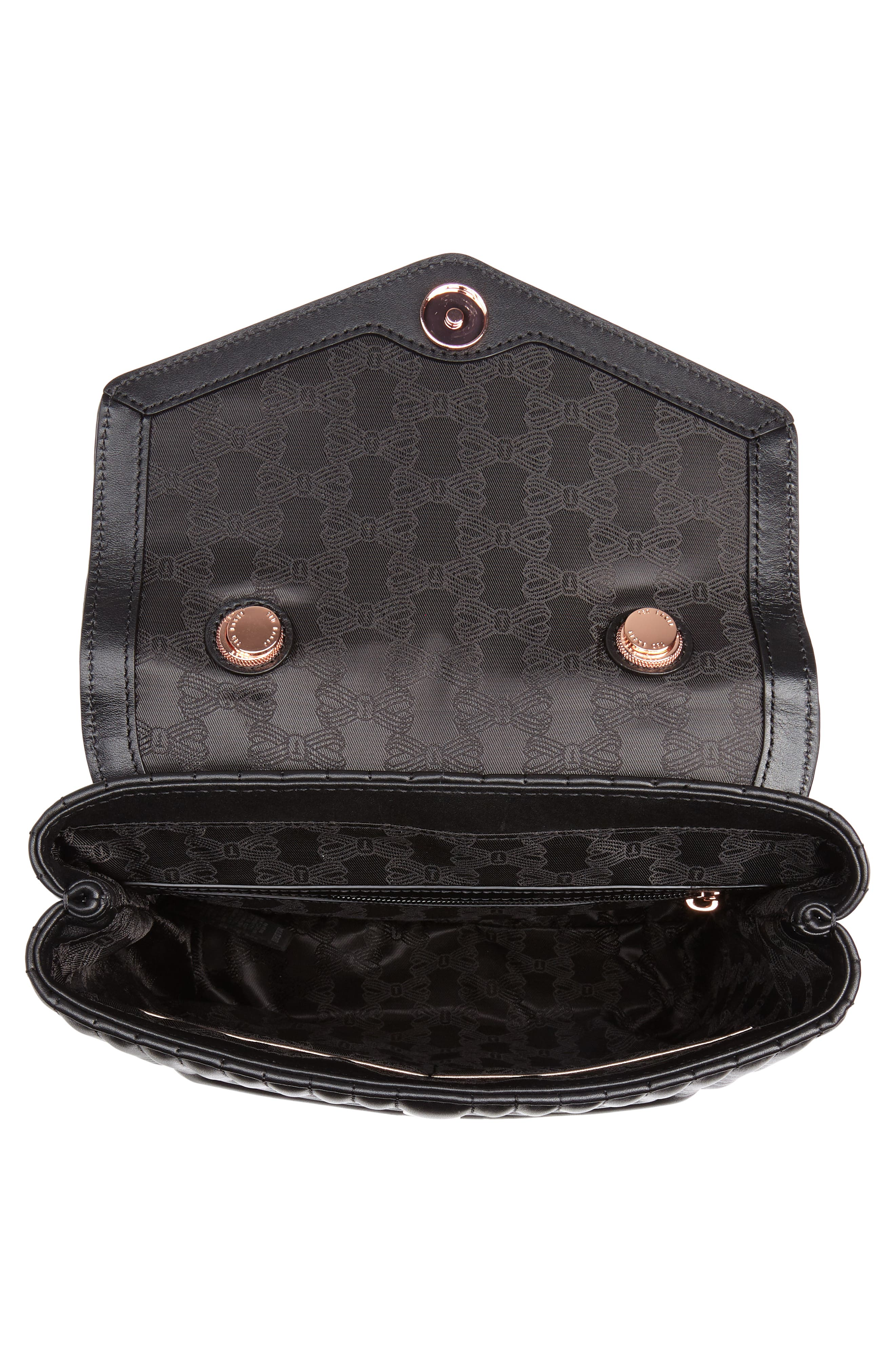 Quilted Bow Leather Backpack,                             Alternate thumbnail 4, color,                             Black