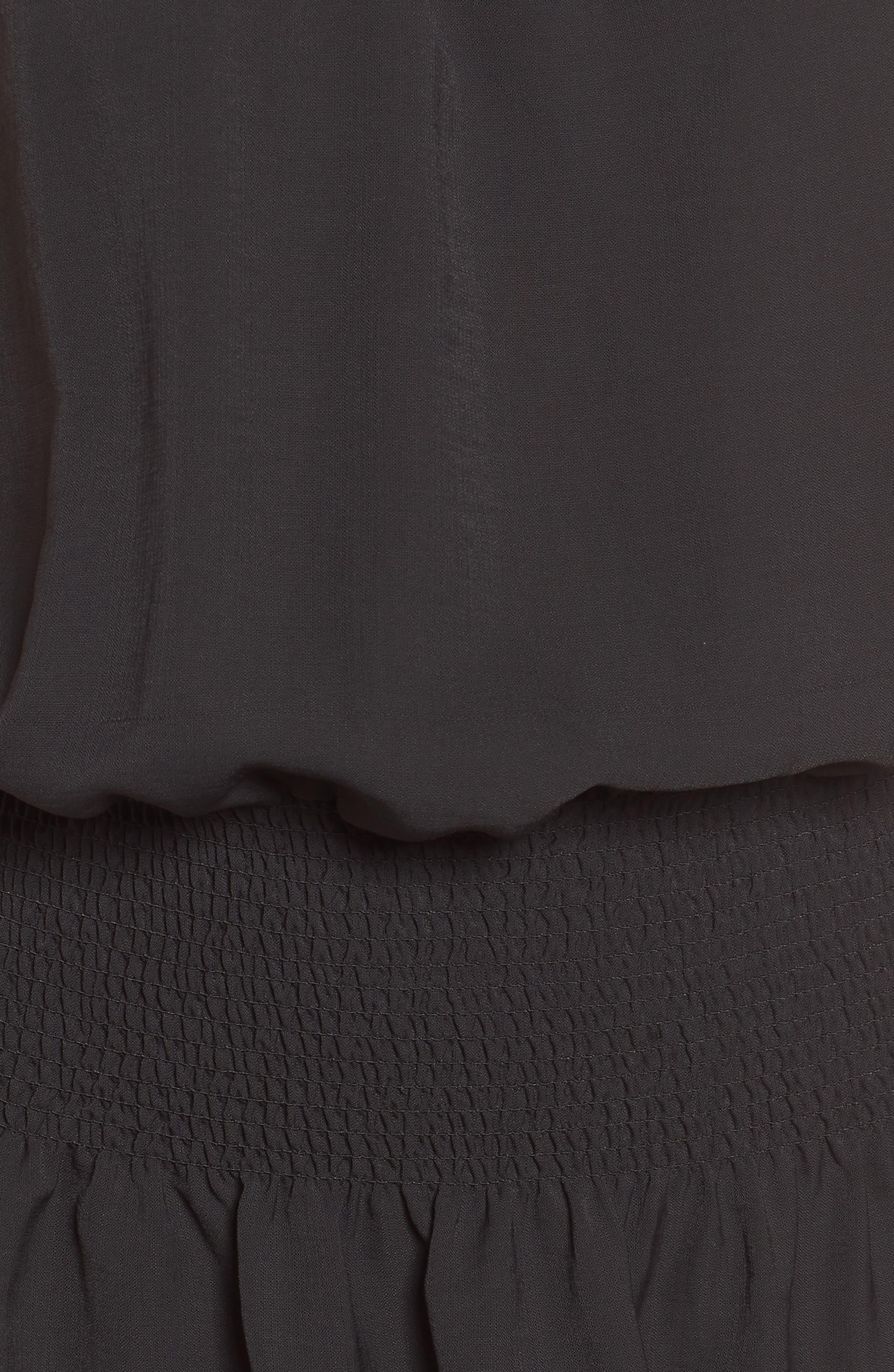 Bishop + Young Smocked Dress,                             Alternate thumbnail 6, color,                             Black