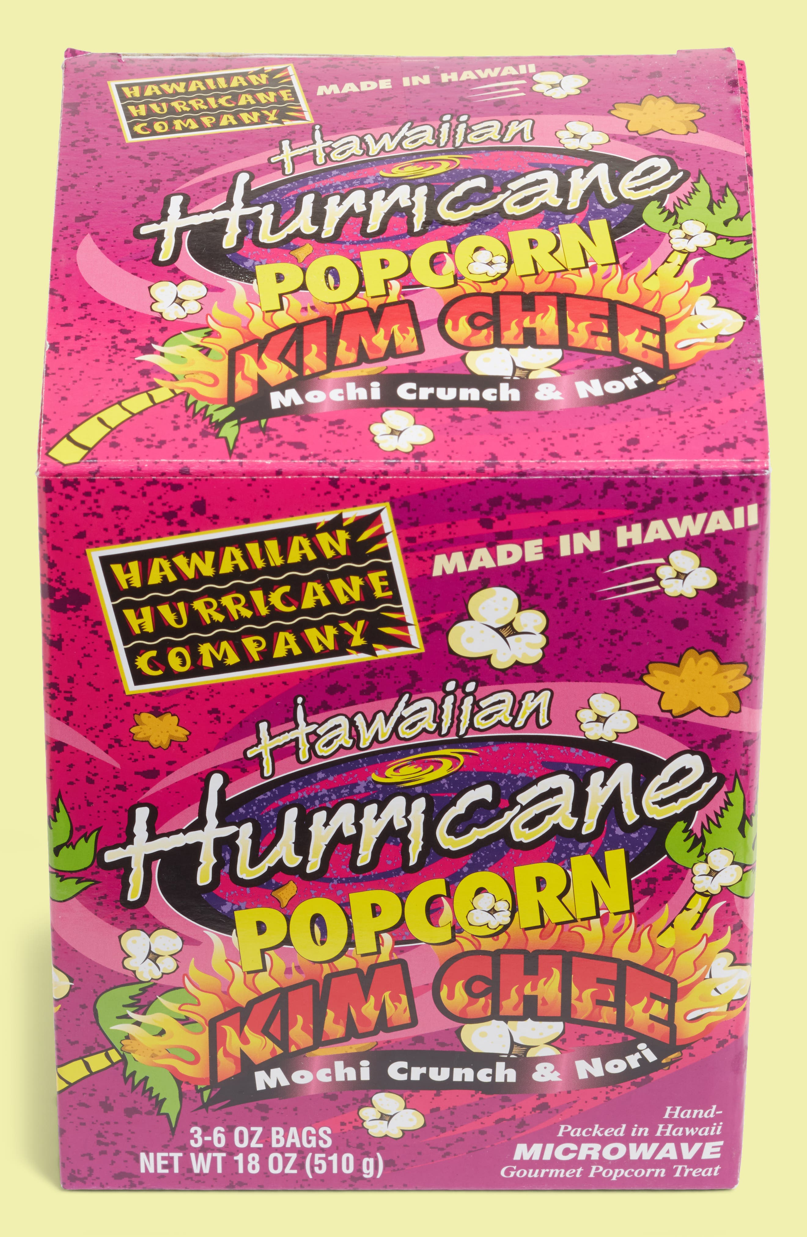 Hawaiian Hurricane Kim Chee Mochi Crunch & Nori 3 Pack Gourmet Microwave Popcorn by Hurricane Popcorn