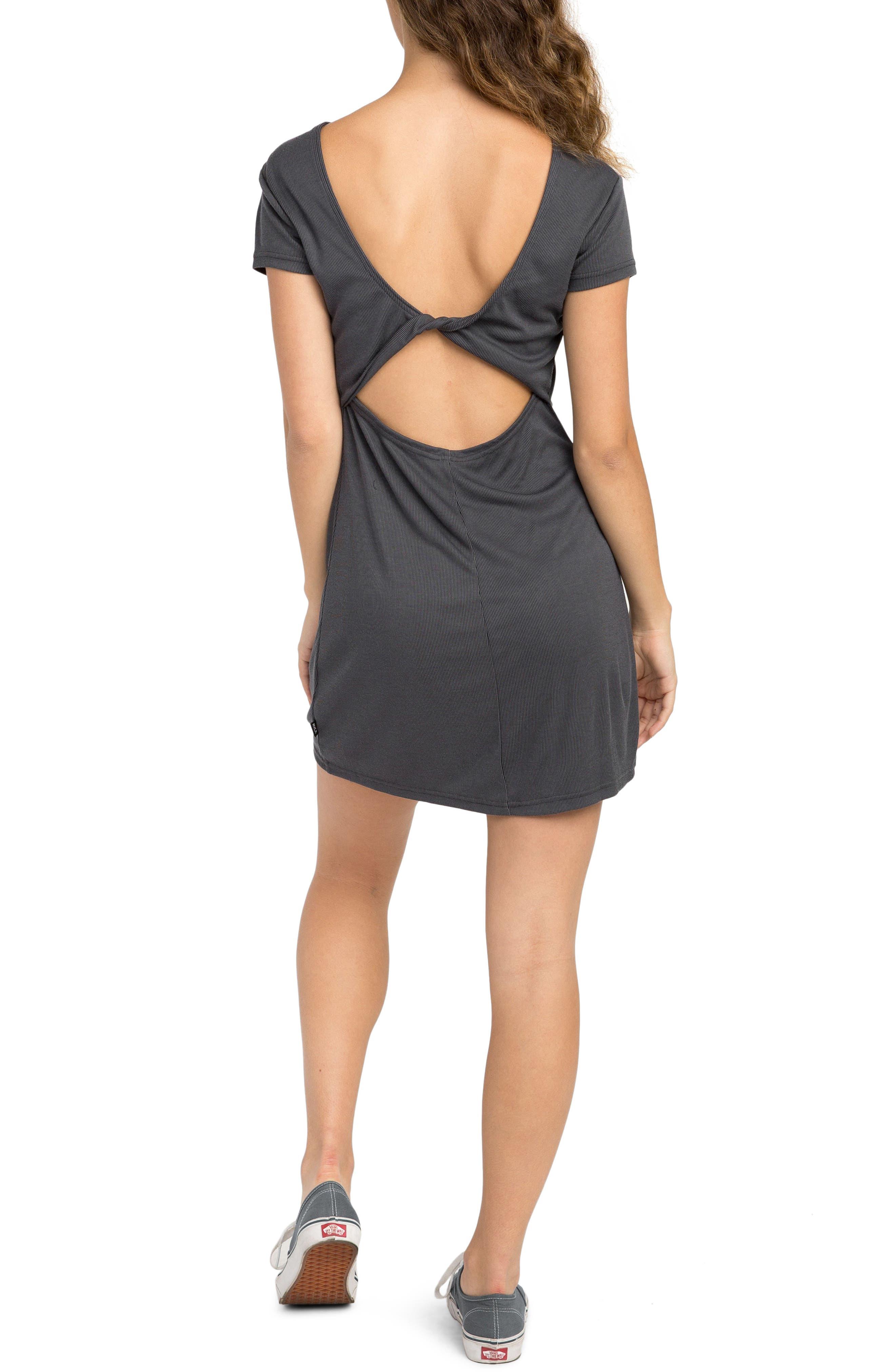 Wallflower Rib Knit Dress,                             Alternate thumbnail 2, color,                             Black