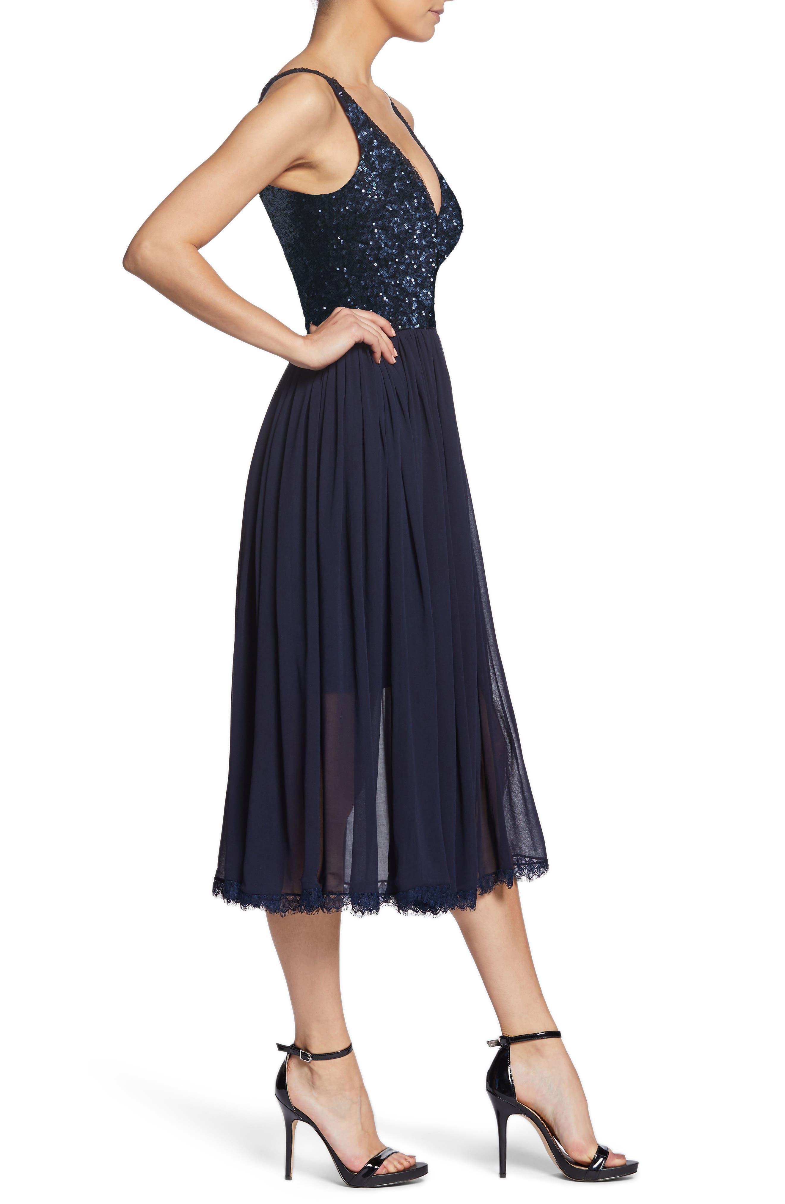 Tracy Plunging Sequin Bodice Tea Length Dress,                             Alternate thumbnail 3, color,                             Navy
