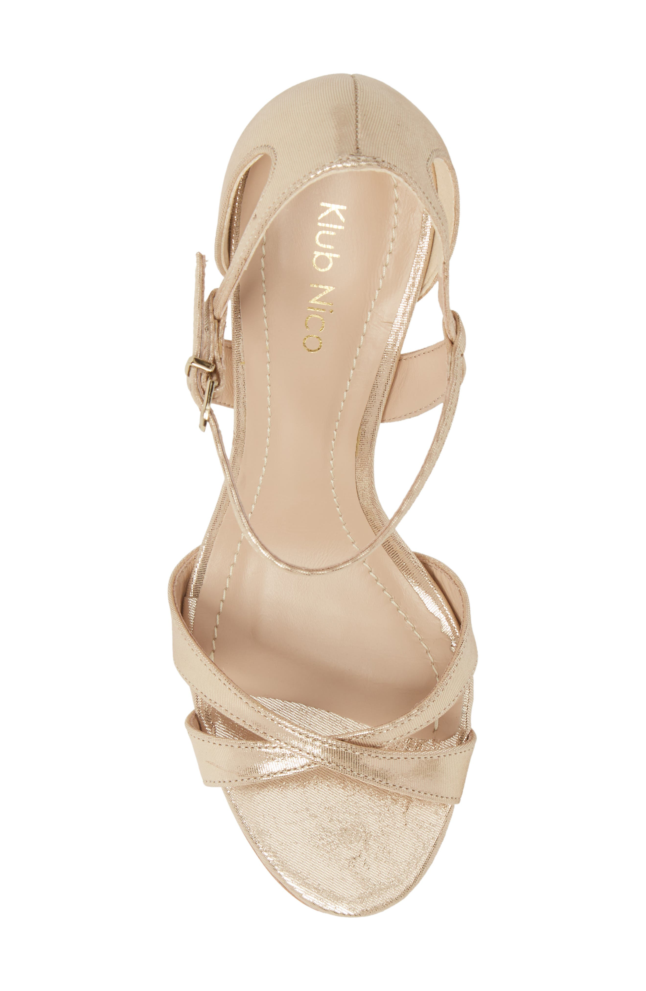 Alexa Sandal,                             Alternate thumbnail 4, color,                             Champagne Leather