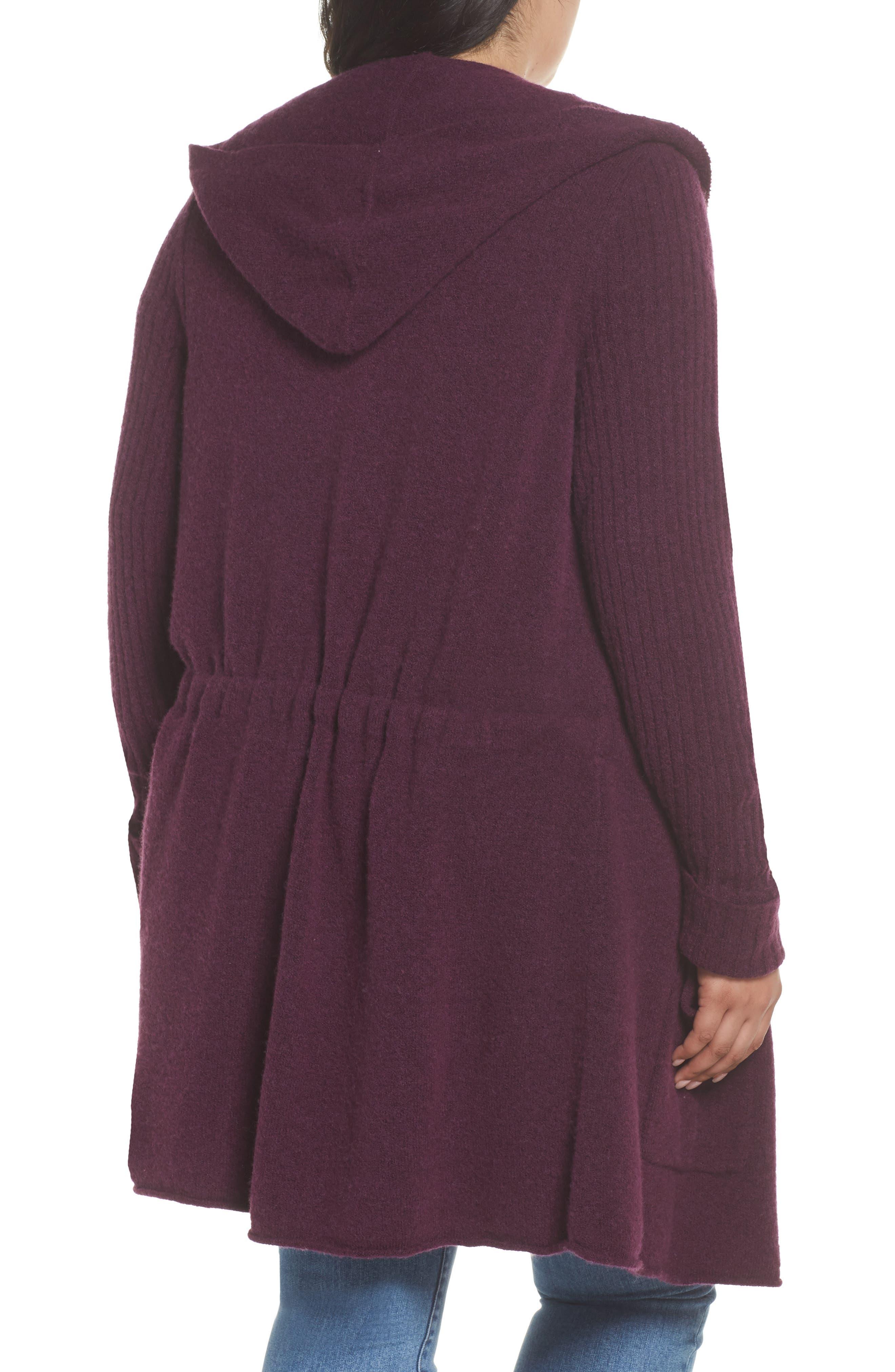 Hooded Cardigan,                             Alternate thumbnail 2, color,                             Purple Potent