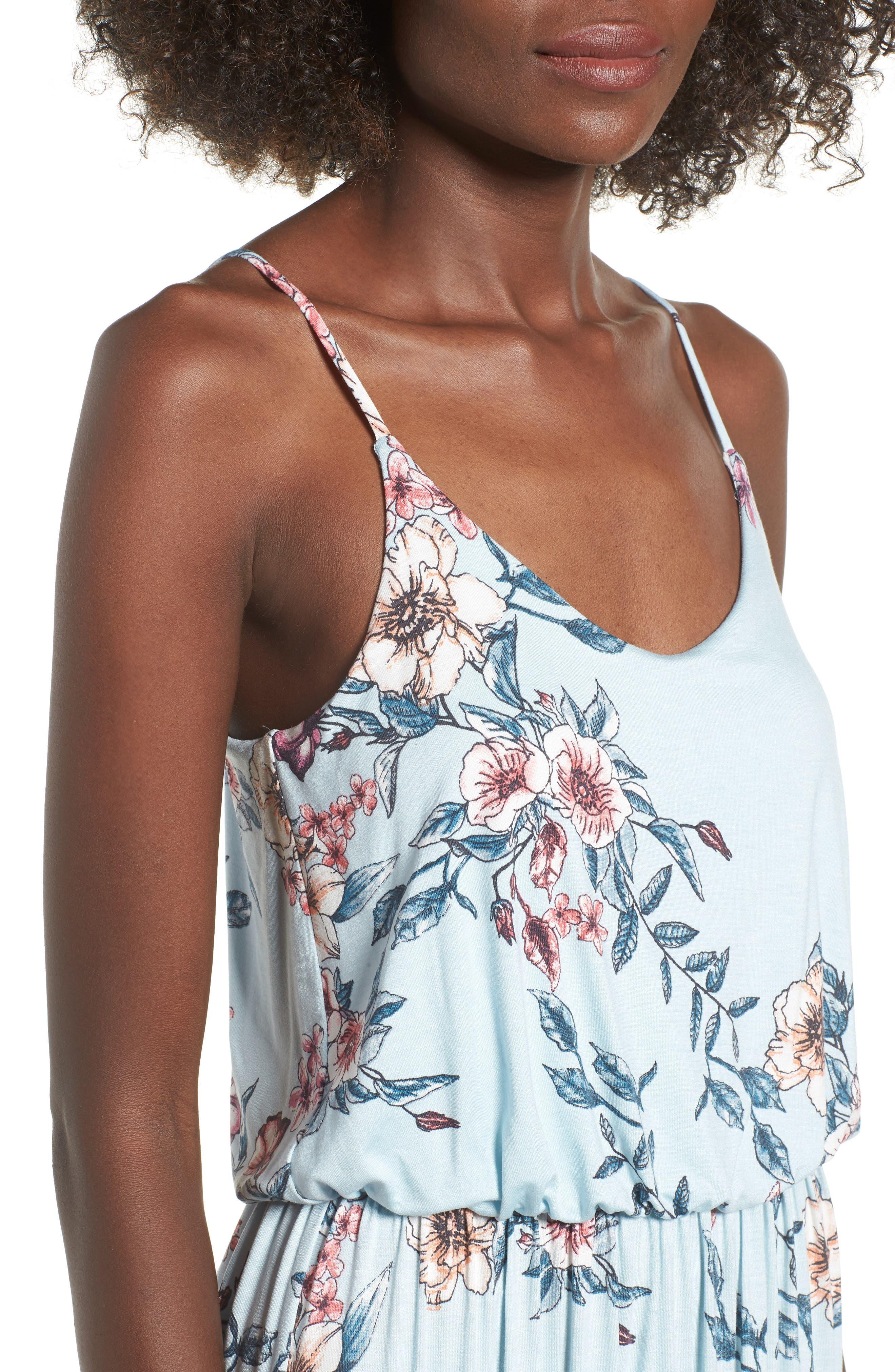 Knit Maxi Dress,                             Alternate thumbnail 4, color,                             Sky Rose