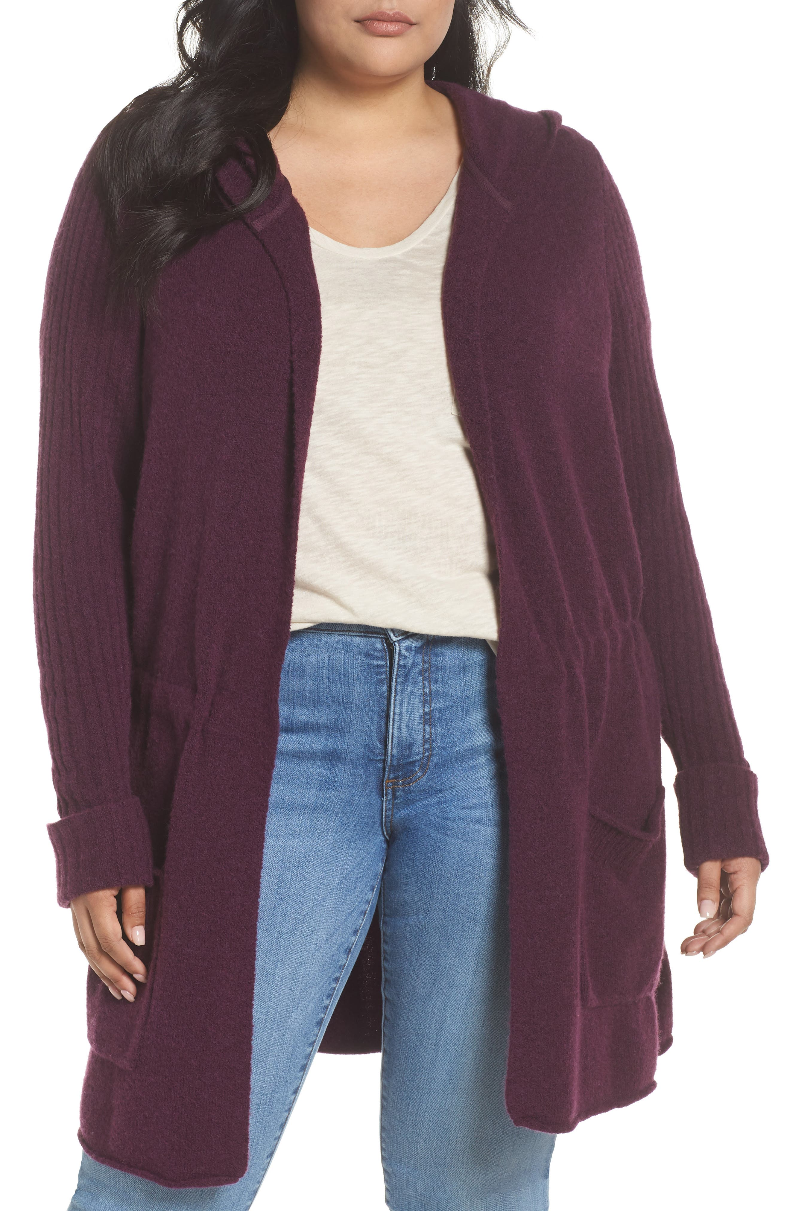 Hooded Cardigan,                         Main,                         color, Purple Potent