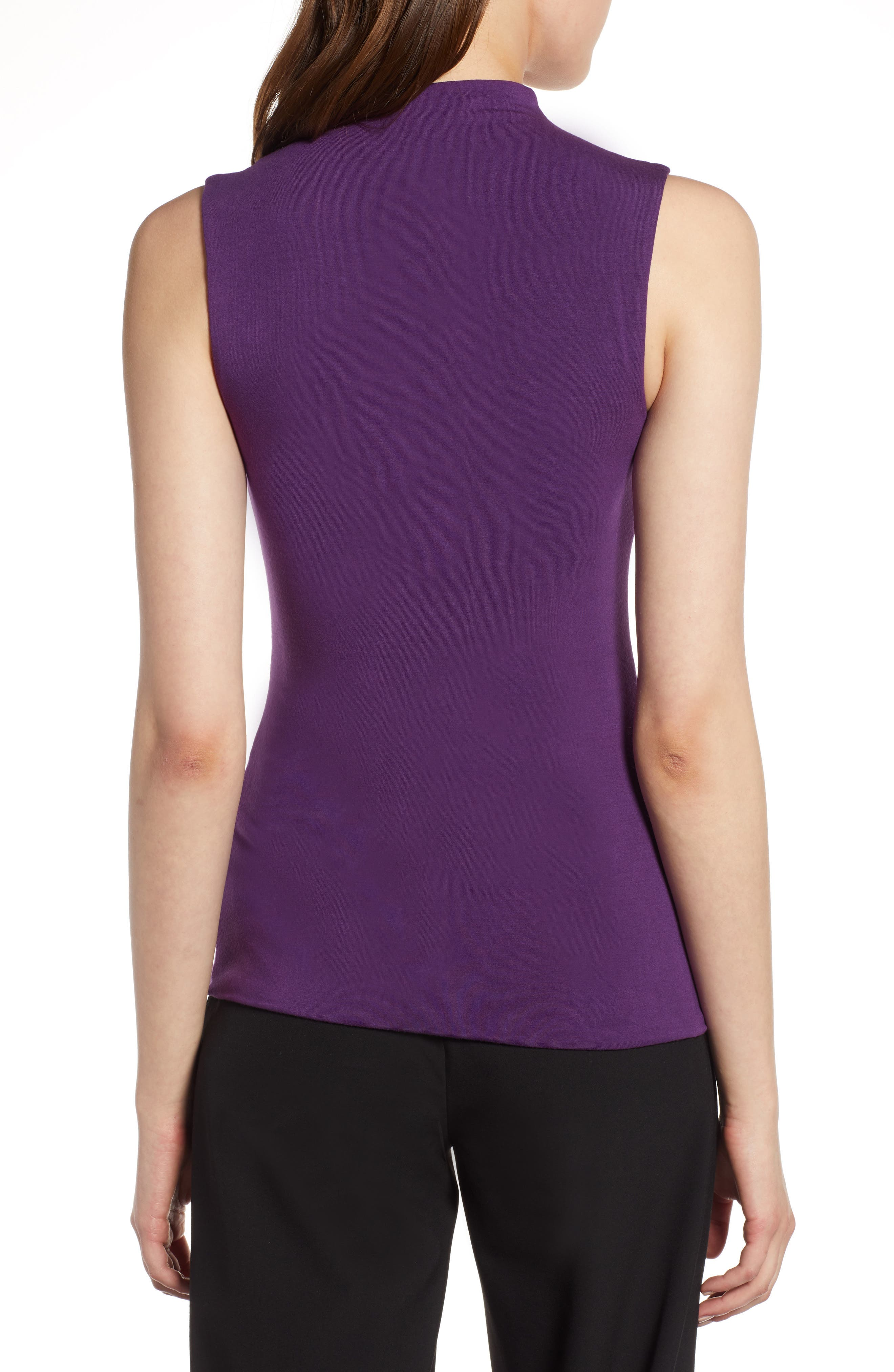 Jersey Funnel Neck Top,                             Alternate thumbnail 2, color,                             Purple Royal