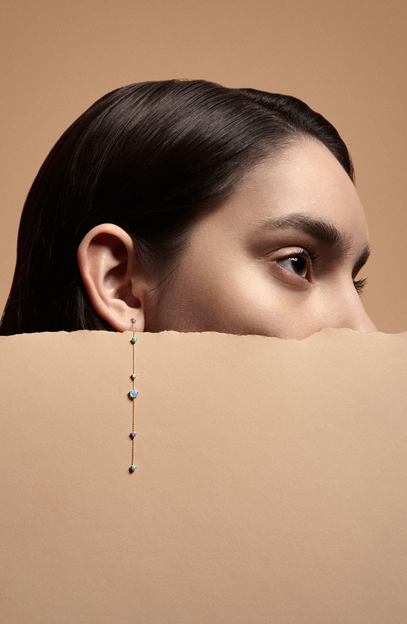 Linear Chain Earrings,                             Alternate thumbnail 3, color,                             Opal/ White Diamond