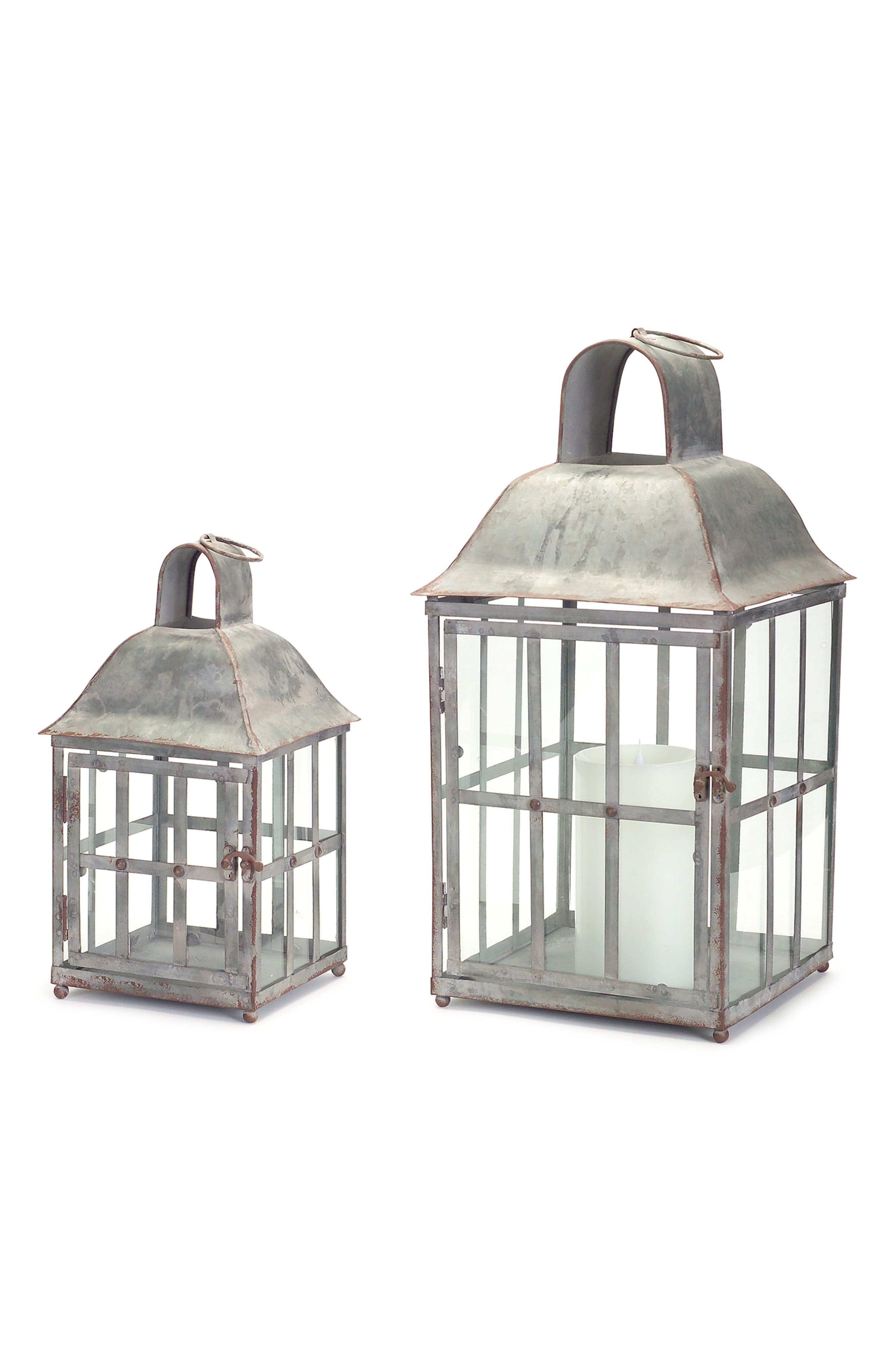 Set of 2 Lanterns,                         Main,                         color, Brown