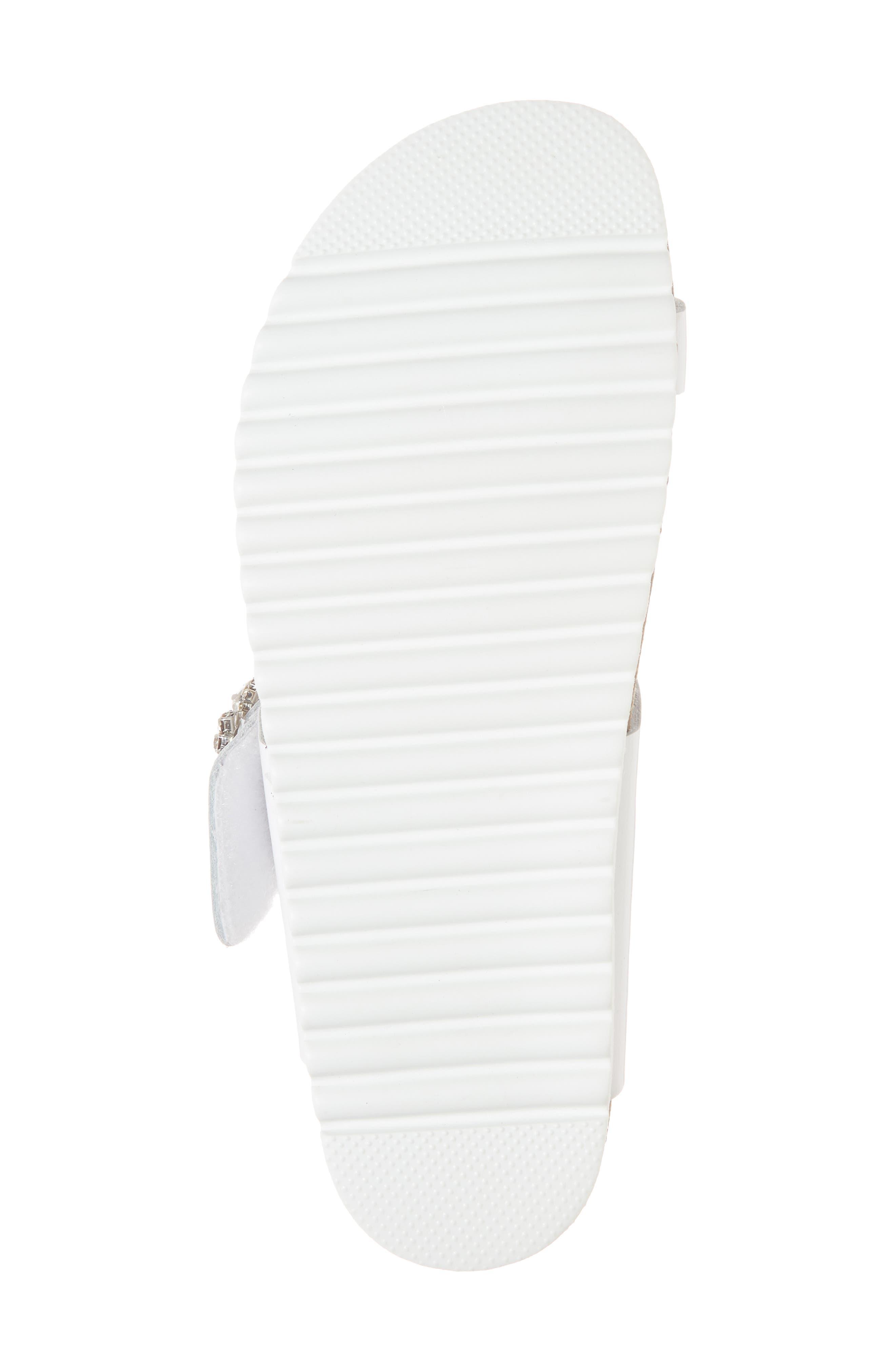 Bianca Embellished Slide Sandal,                             Alternate thumbnail 6, color,                             White Patent/ Silver
