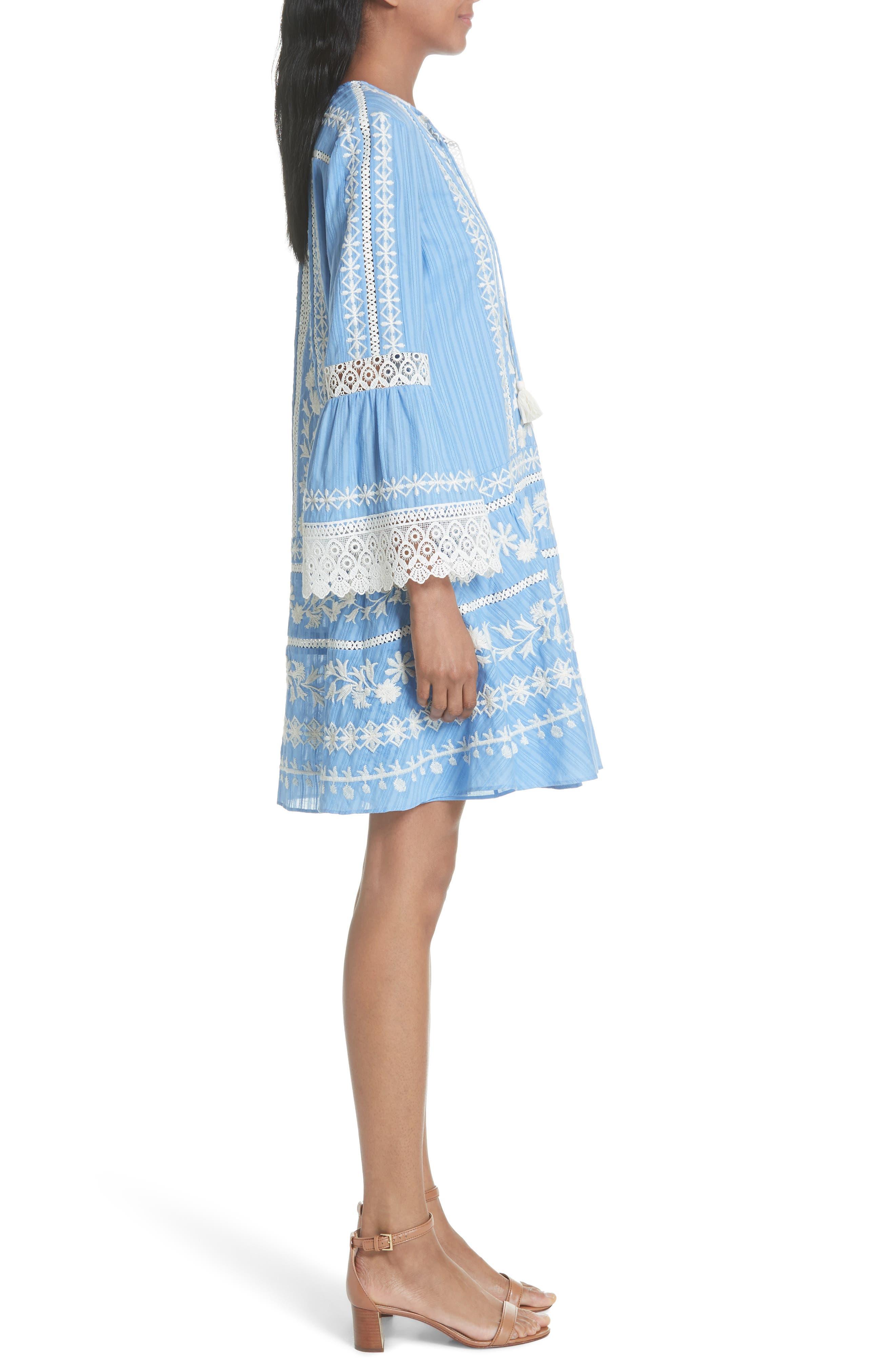 Gabriella Cotton Shift Dress,                             Alternate thumbnail 5, color,                             Blue Dusk