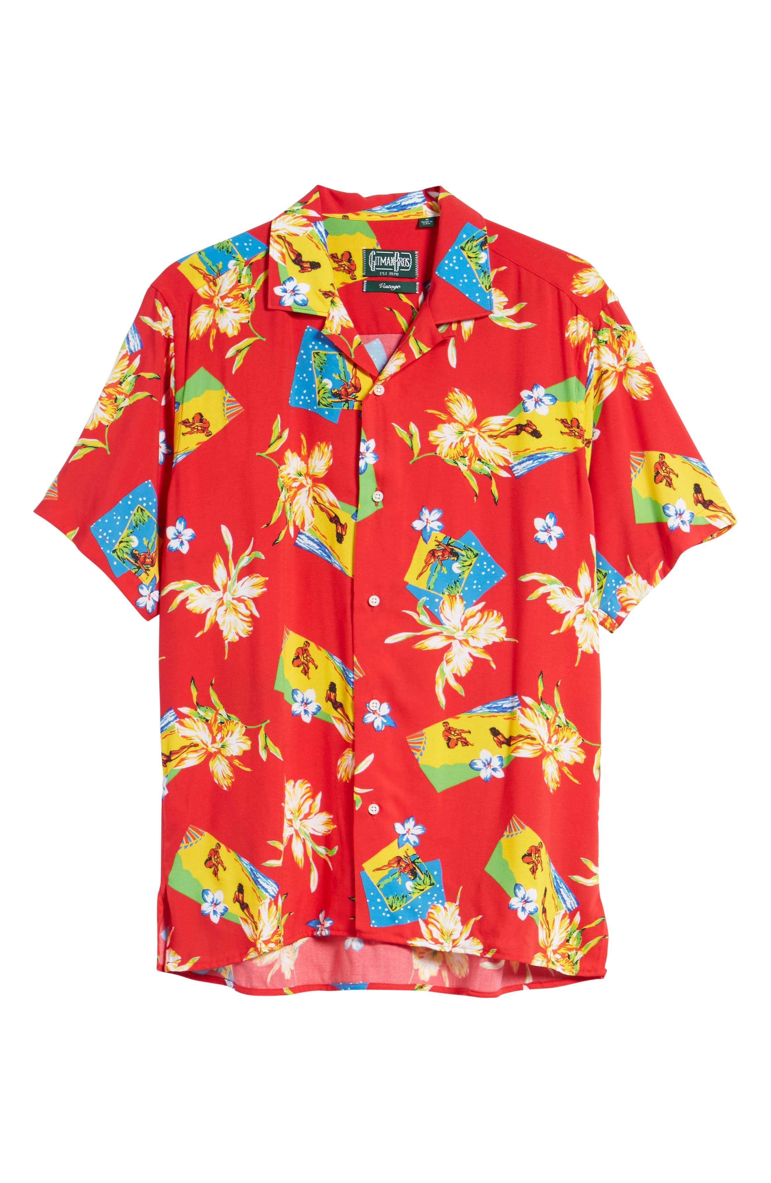 Print Camp Shirt,                             Alternate thumbnail 6, color,                             Red Aloha