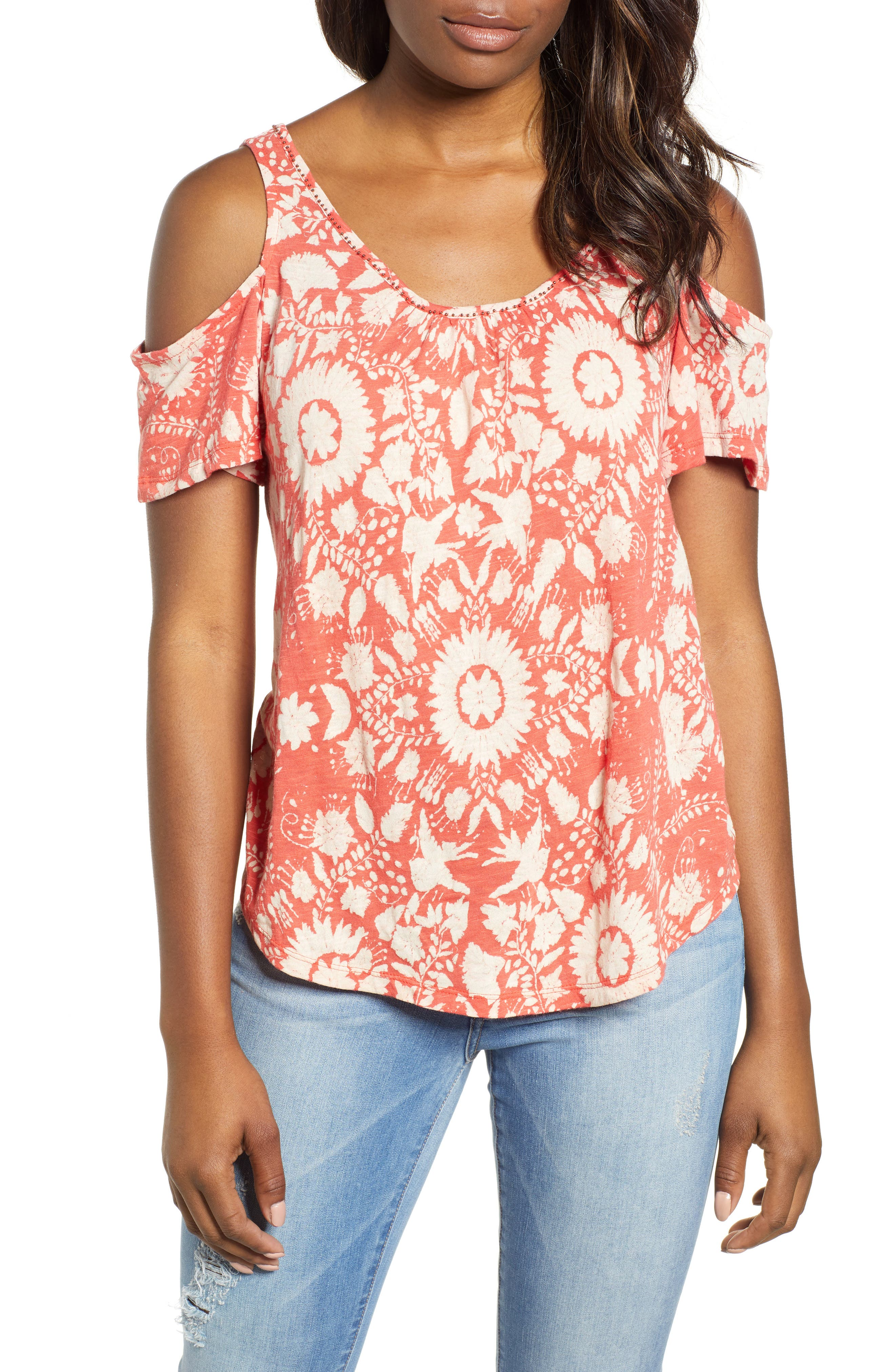 Lucky Brand Cold Shoulder Cotton Blend Top