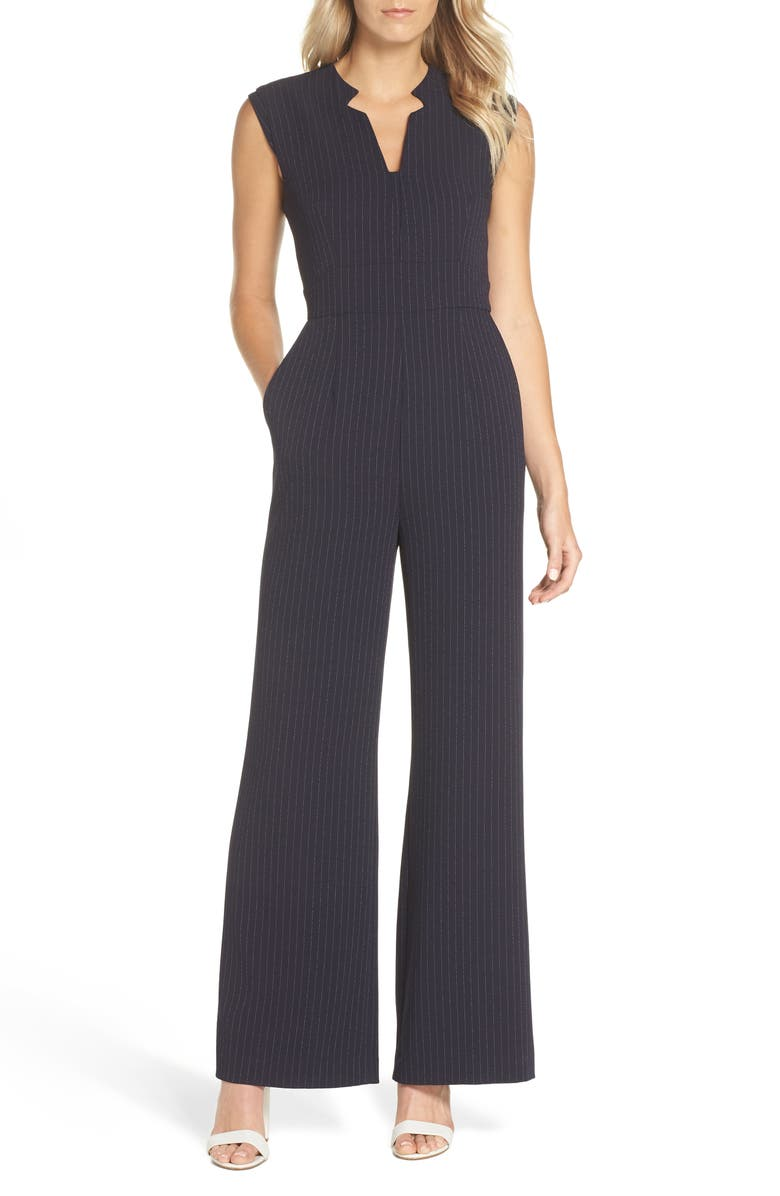 Sleeveless Pinstripe Crepe Jumpsuit