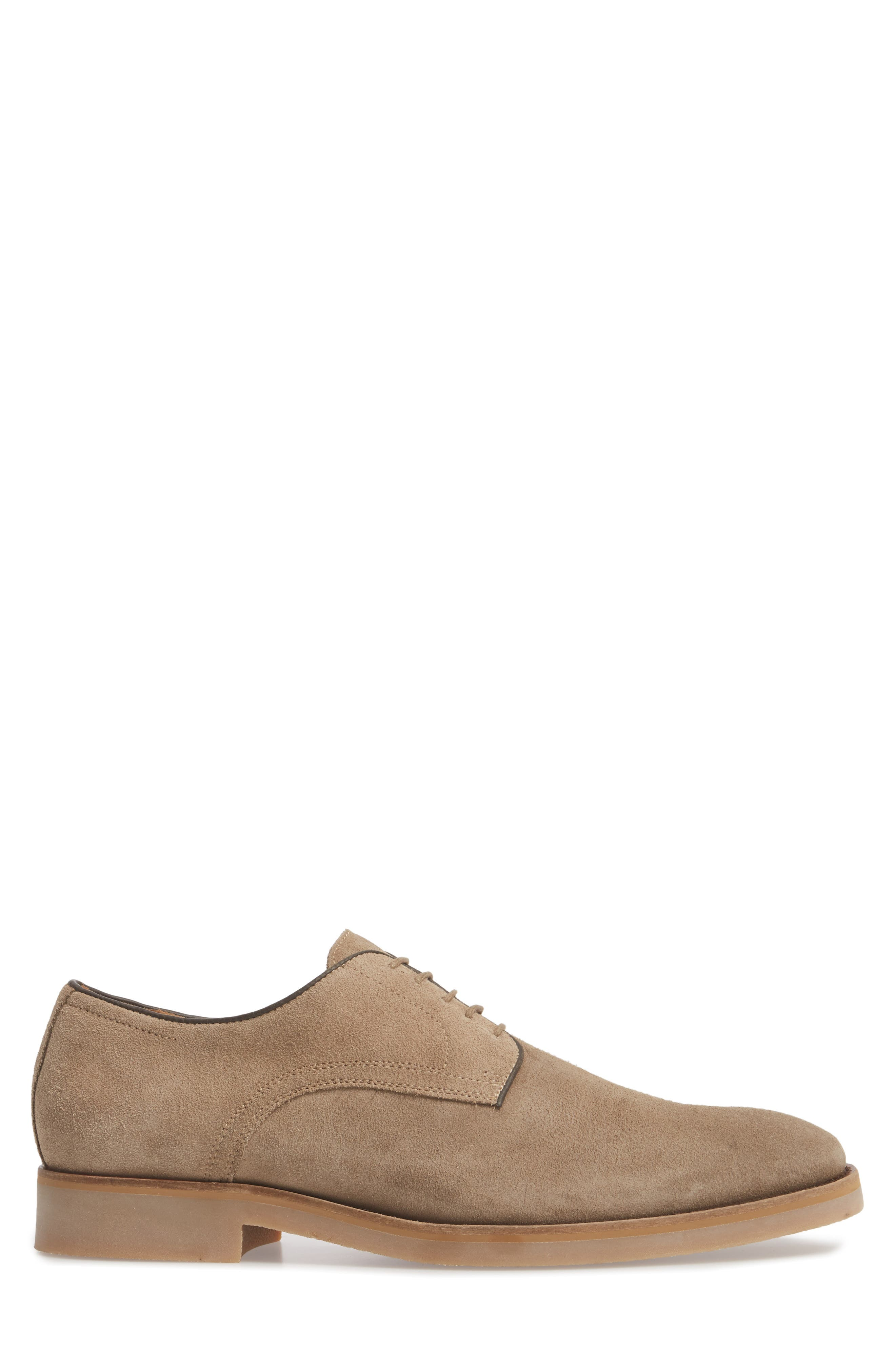 Santino Plain Toe Derby,                             Alternate thumbnail 3, color,                             Taupe Suede