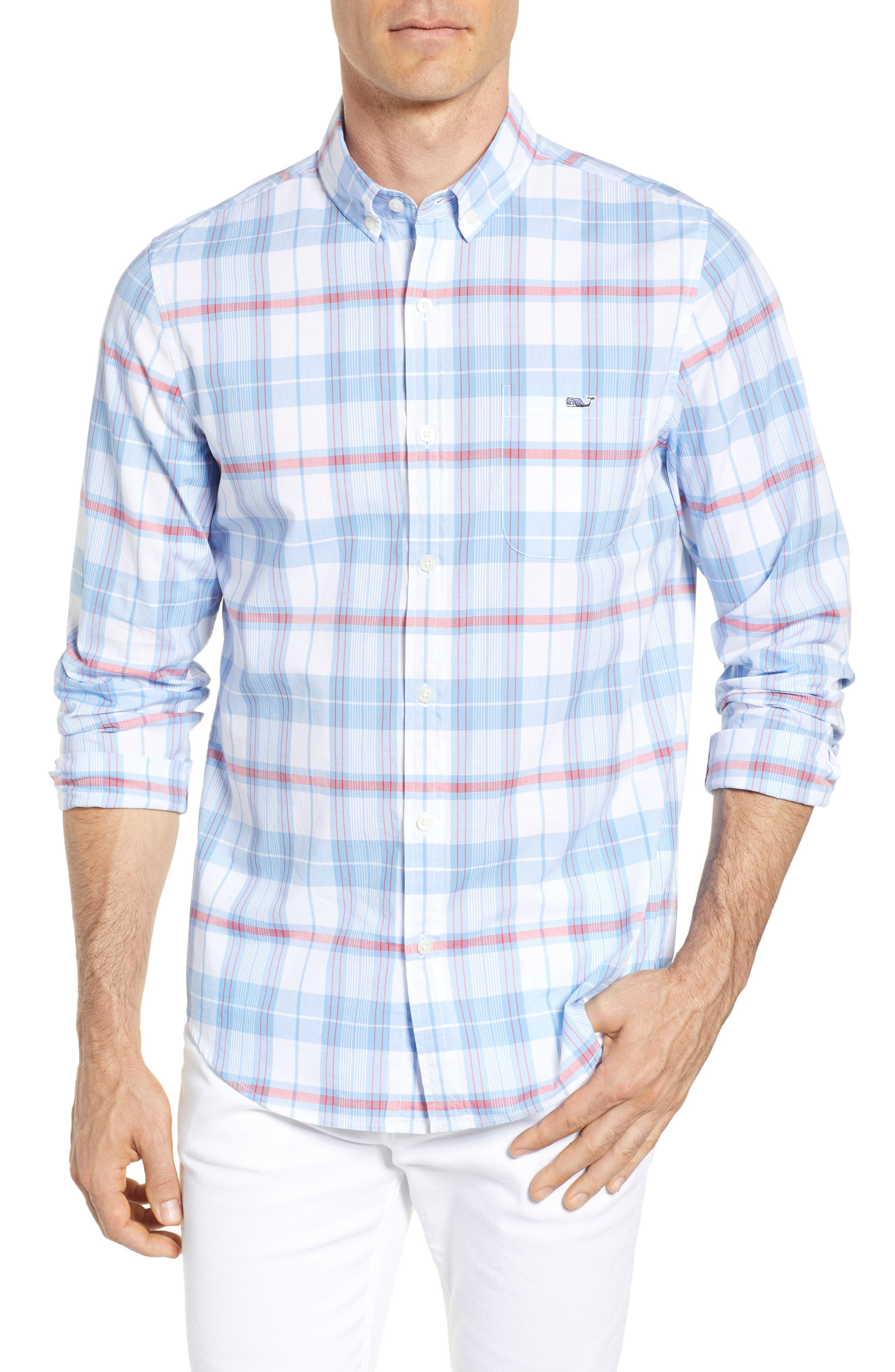 Cape Poge Tucker Slim Fit Plaid Sport Shirt,                         Main,                         color, Dockside Blue