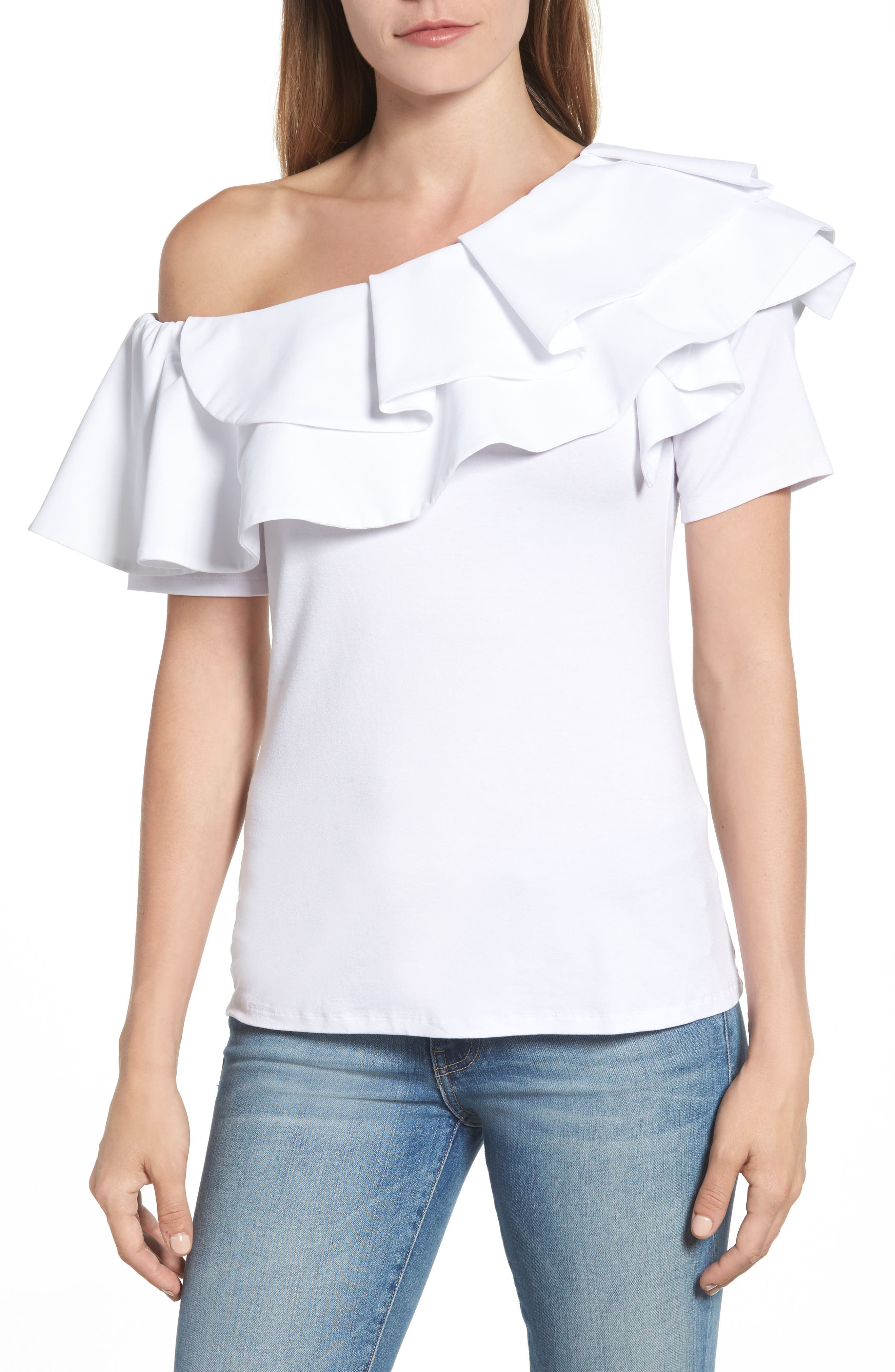 One-Shoulder Ruffle Top,                         Main,                         color, Ultra White