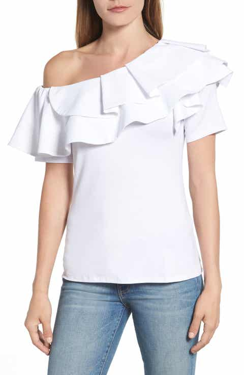 Vince Camuto One-Shoulder Ruffle Top