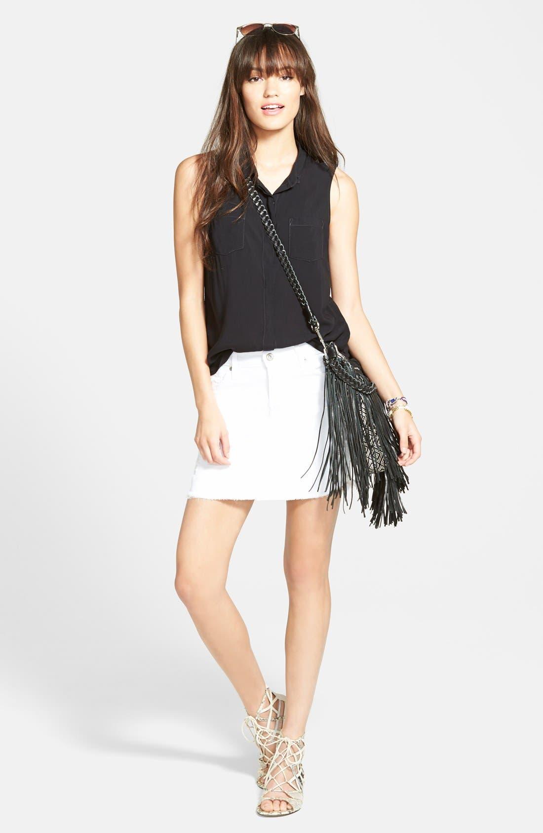 Alternate Image 4  - James Jeans Denim Cutoff Miniskirt (White Opaque)