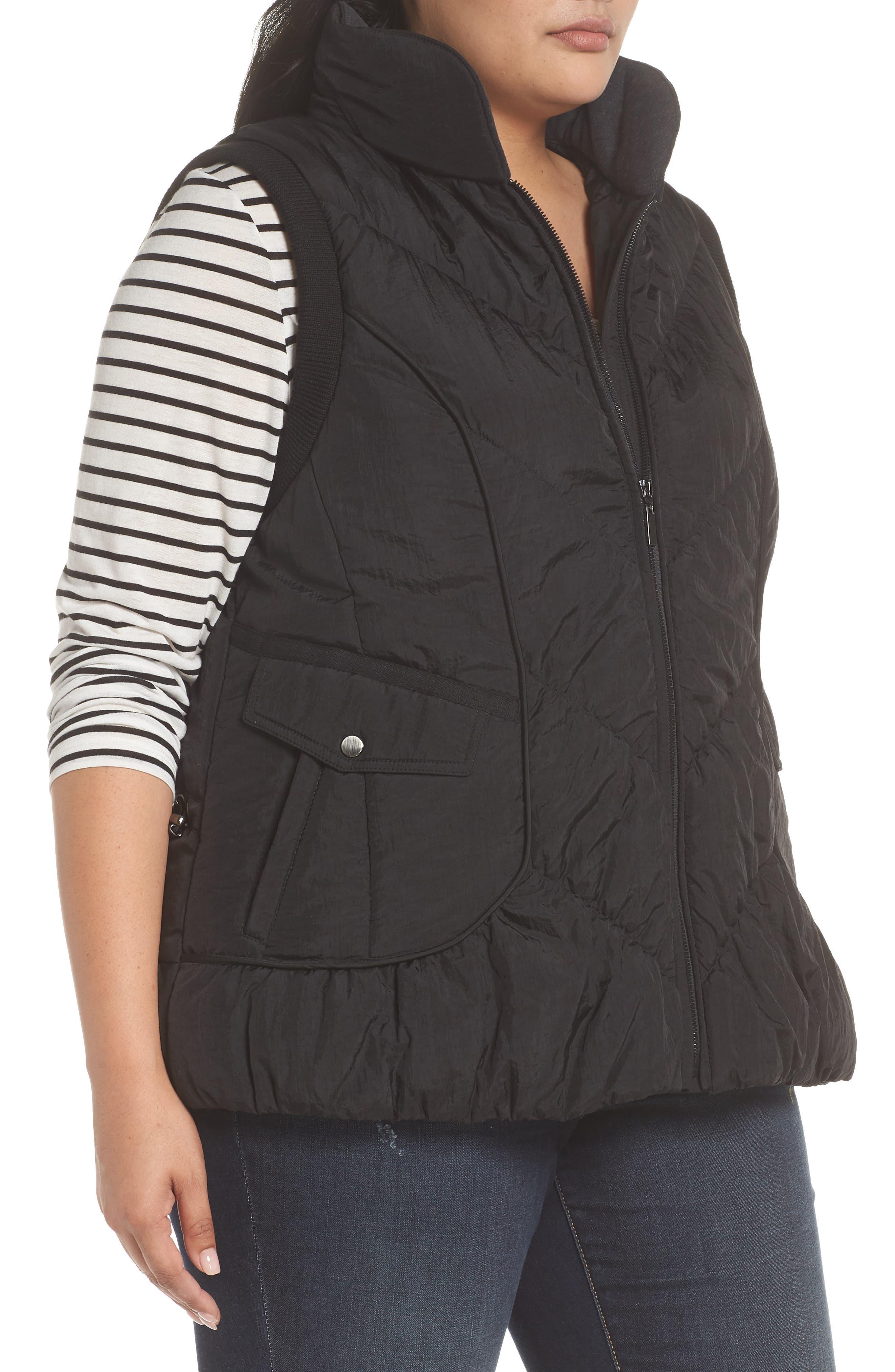 Packable Pillow Collar Vest,                             Alternate thumbnail 3, color,                             Black